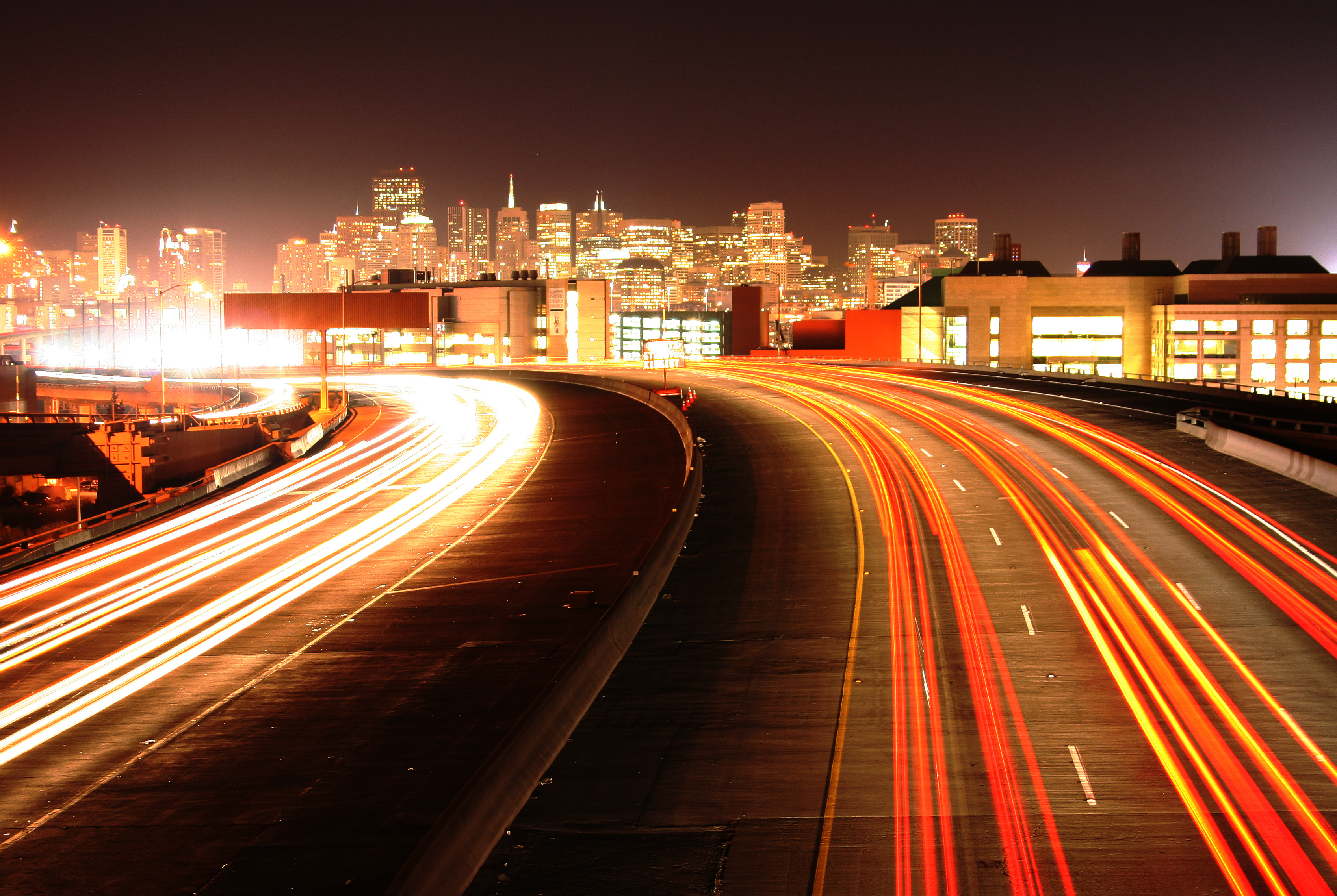 Midnight downtown San Francisco Silicon Valley freeway lights