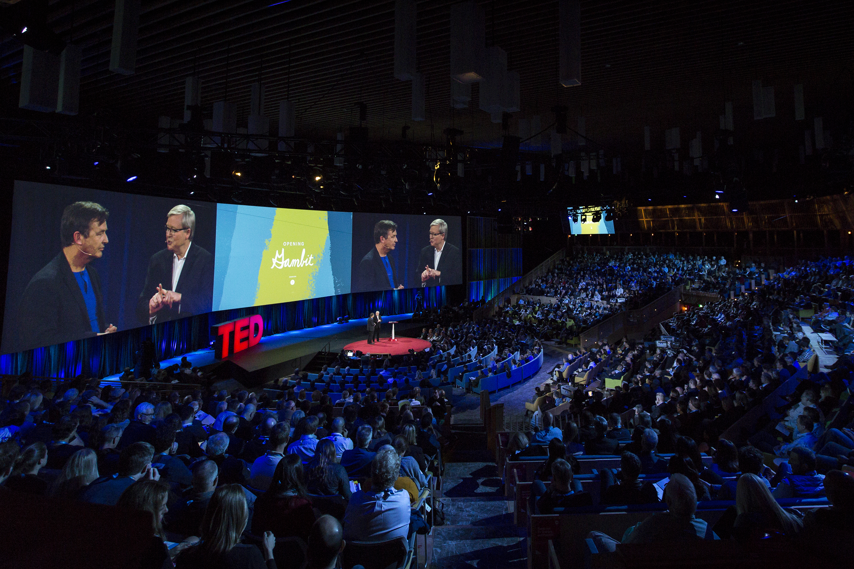 Chris Anderson speaks with Kevin Rudd at TED2015 - Truth and Dare, Session 1, March 16-20, 2015, Vancouver Convention Center, Vancouver, Canada. Photo: Ryan Lash/TED