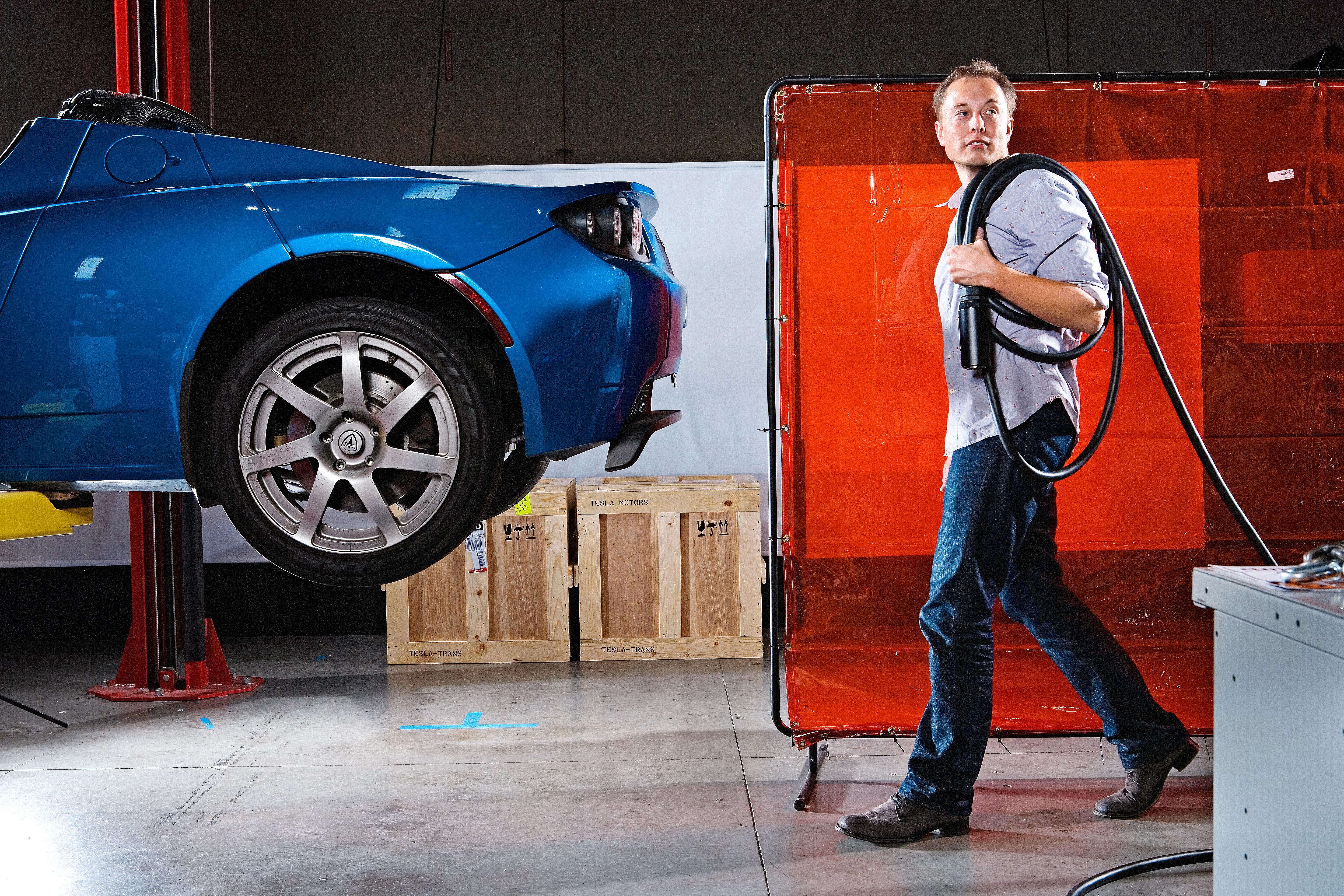 Elon Musk in the San Carlos HQ of Tesla Motors