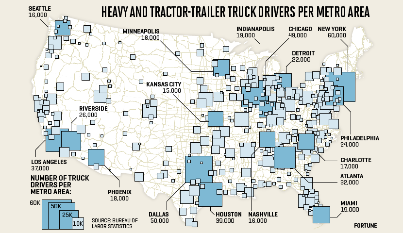 Map shows where truck drivers are based in the U.S.