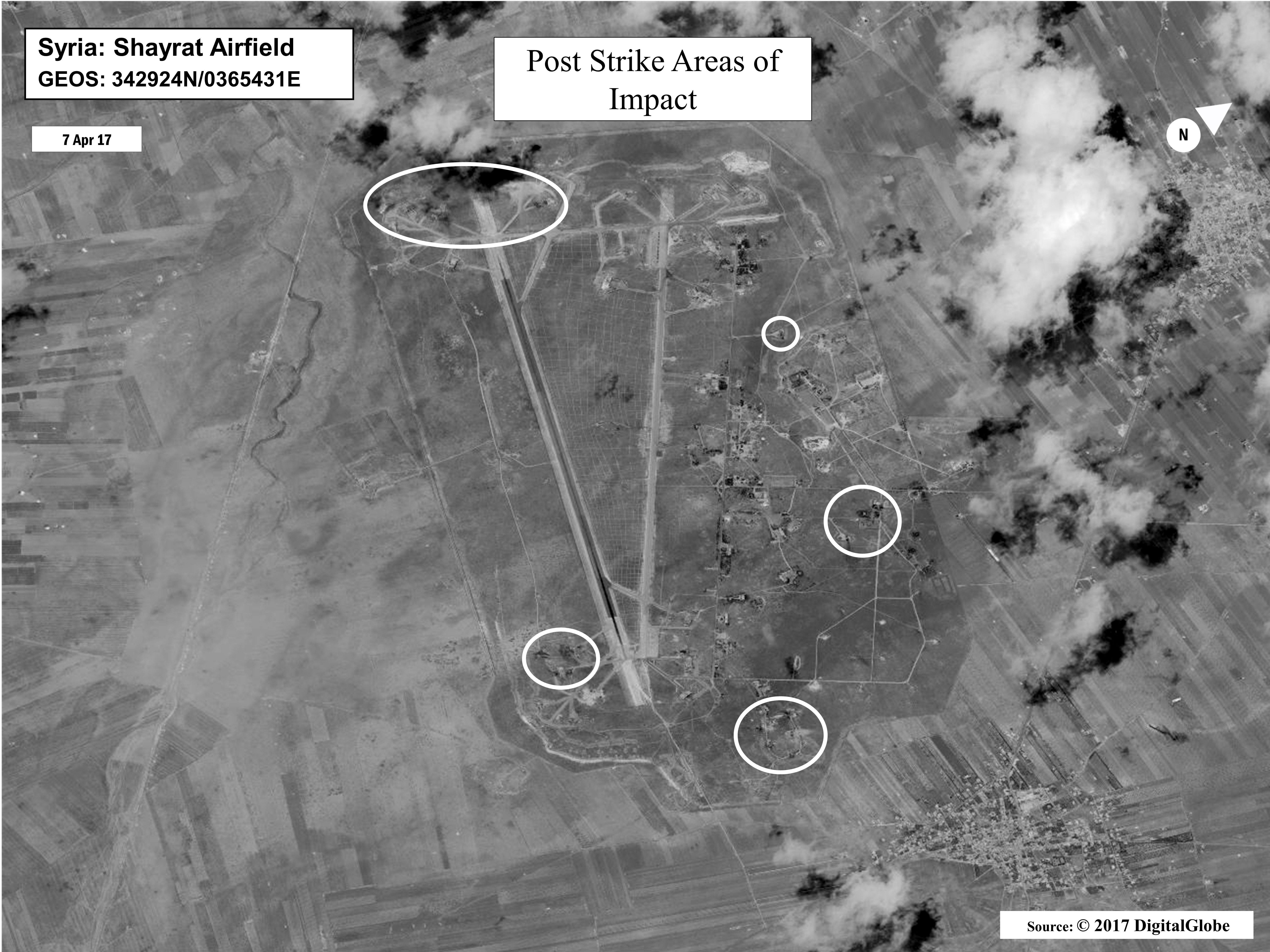 This satellite image released by the U.S. Department of Defense shows a damage assessment image of Al-Shayrat airbase in Syria, following U.S. Tomahawk Land Attack Missile strikes on Friday, April 7, 2017 from the USS Ross (DDG 71) and USS Porter (DDG 78), Arleigh Burke-class guided-missile destroyers.