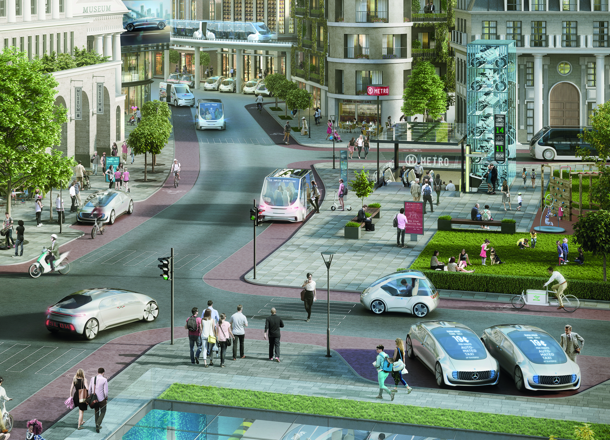 Bosch and Daimler are working together to develop a driverless taxis for cities.