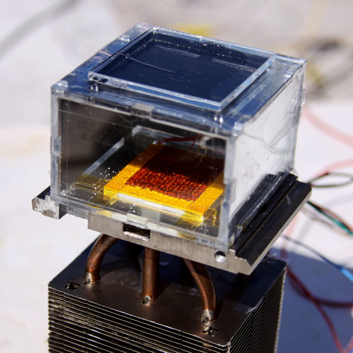 A prototype of a new device that harvests water from even very dry air.
