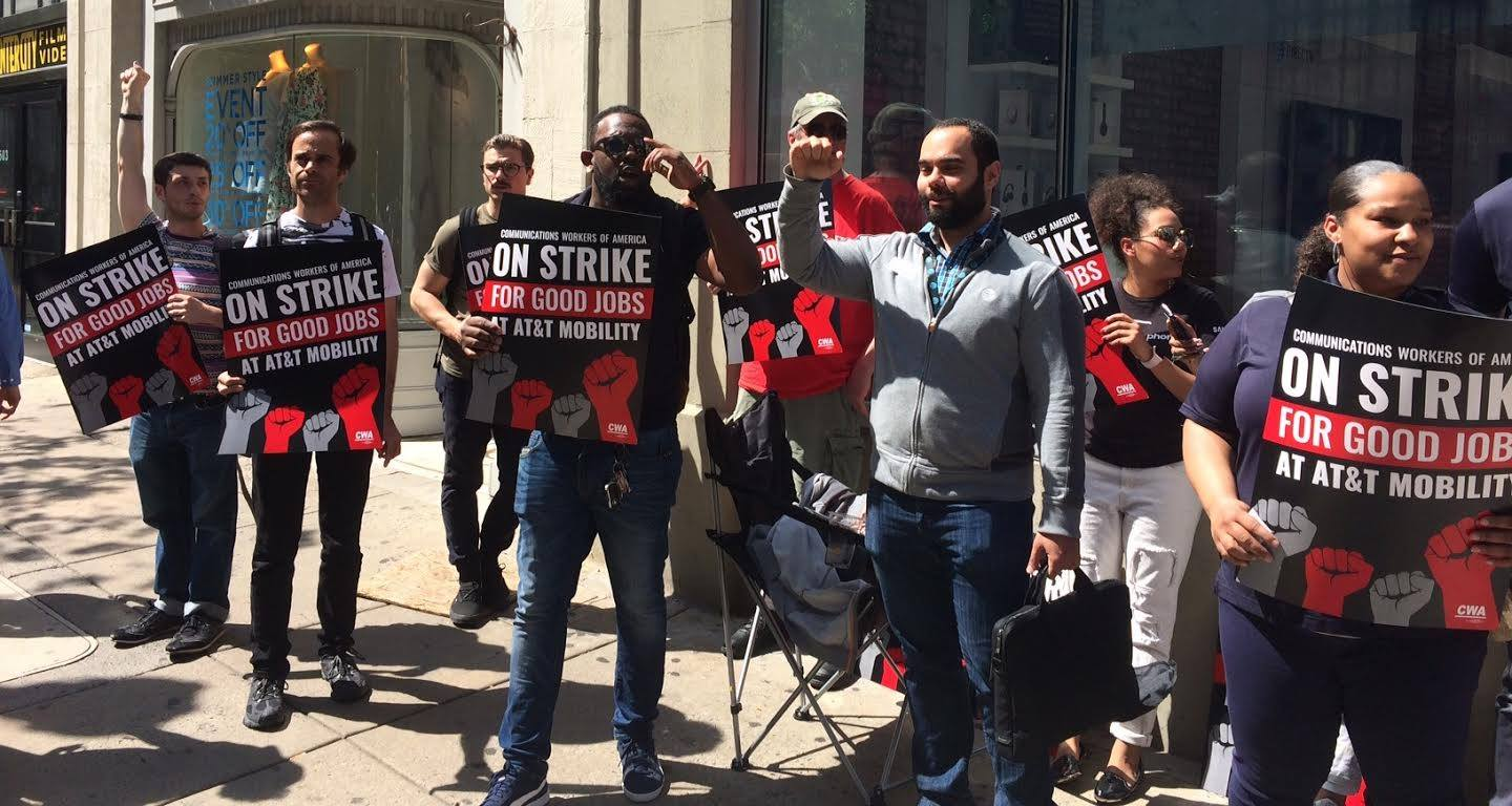 AT&T workers in Philadelphia walk out on strike