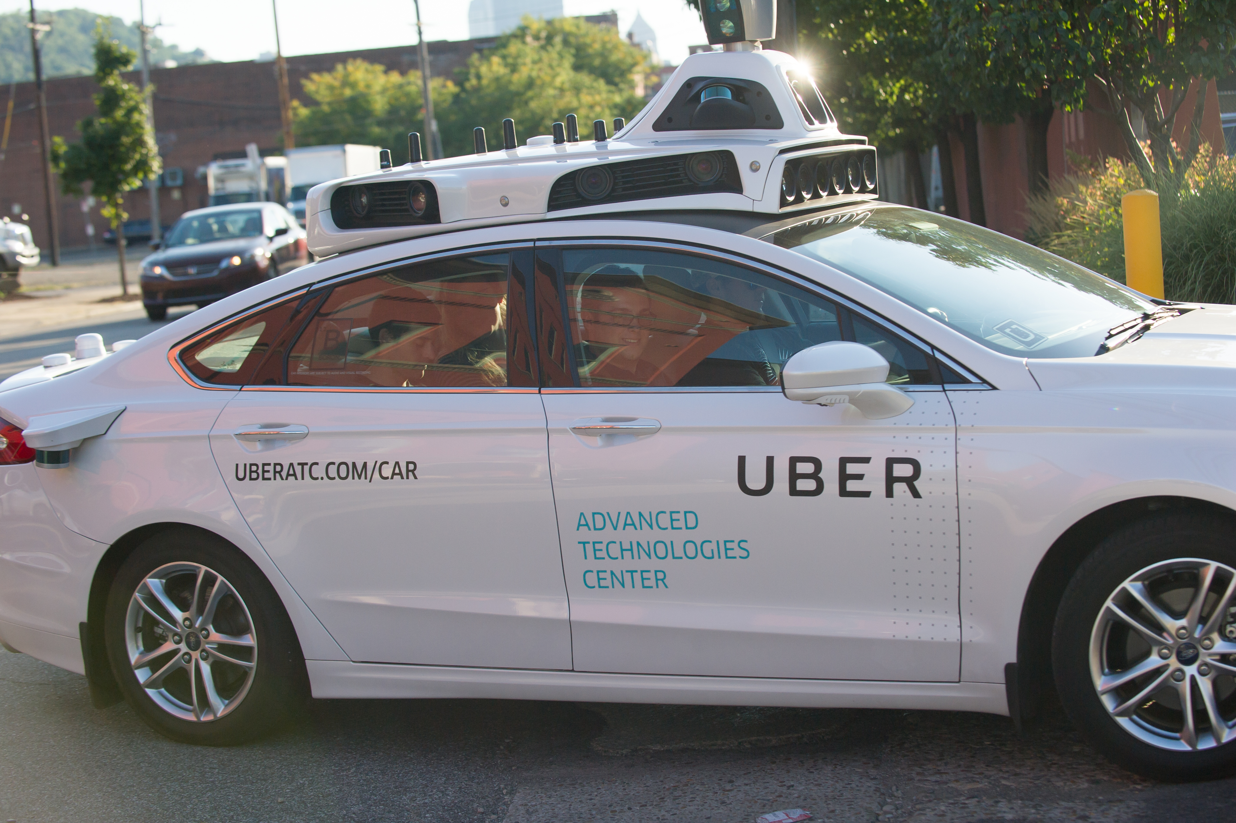 An Uber self-driving car in Pittsburgh. The ride-sharing company is opening a research office in Toronto, Canada.