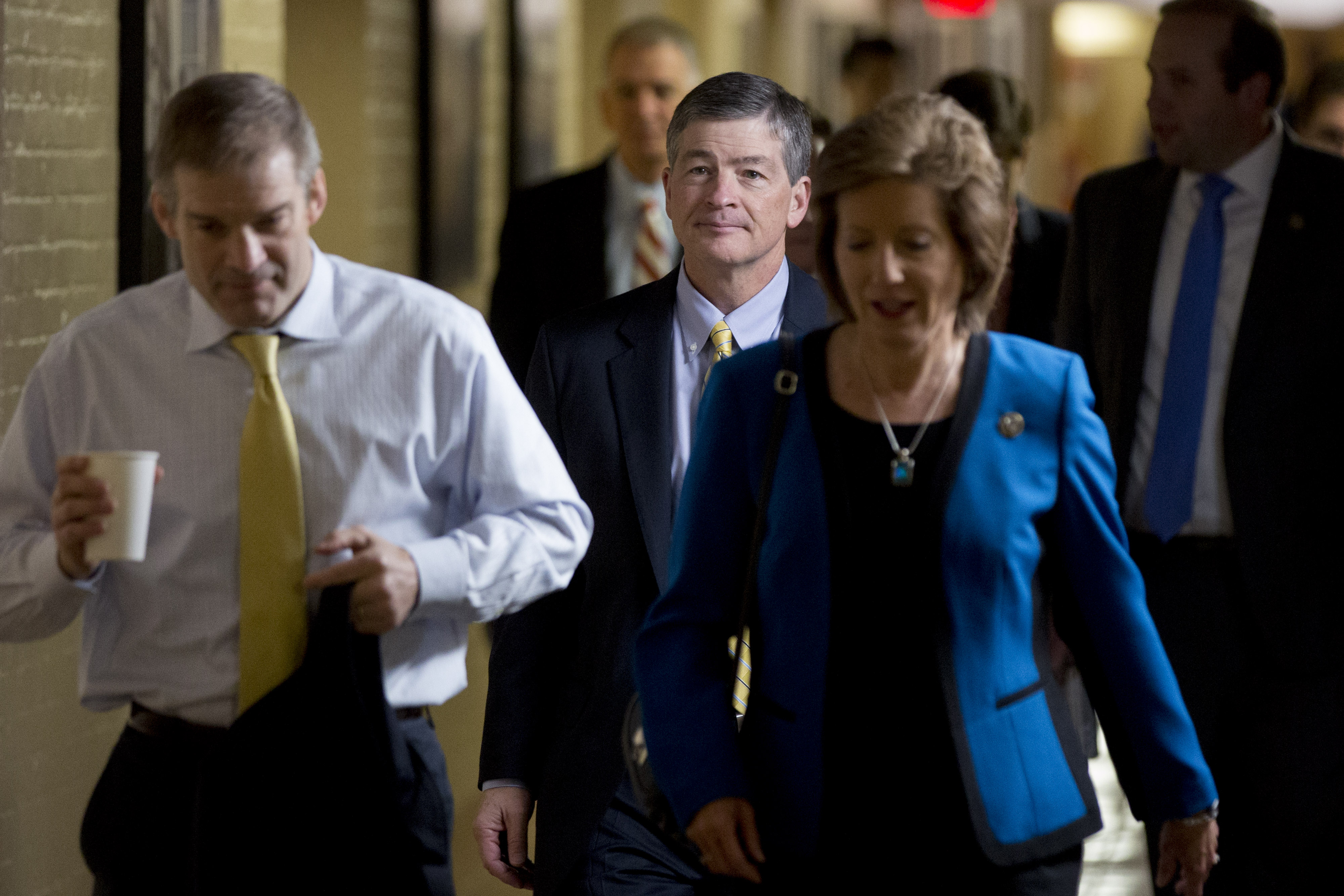 Rep. Jeb Hensarling (R-Texas) and chairman of the House Financial Services Committee, center, walks to a House Republican conference meeting at the U.S. Capitol in Washington, D.C., U.S., on Thursday, May 4, 2017.