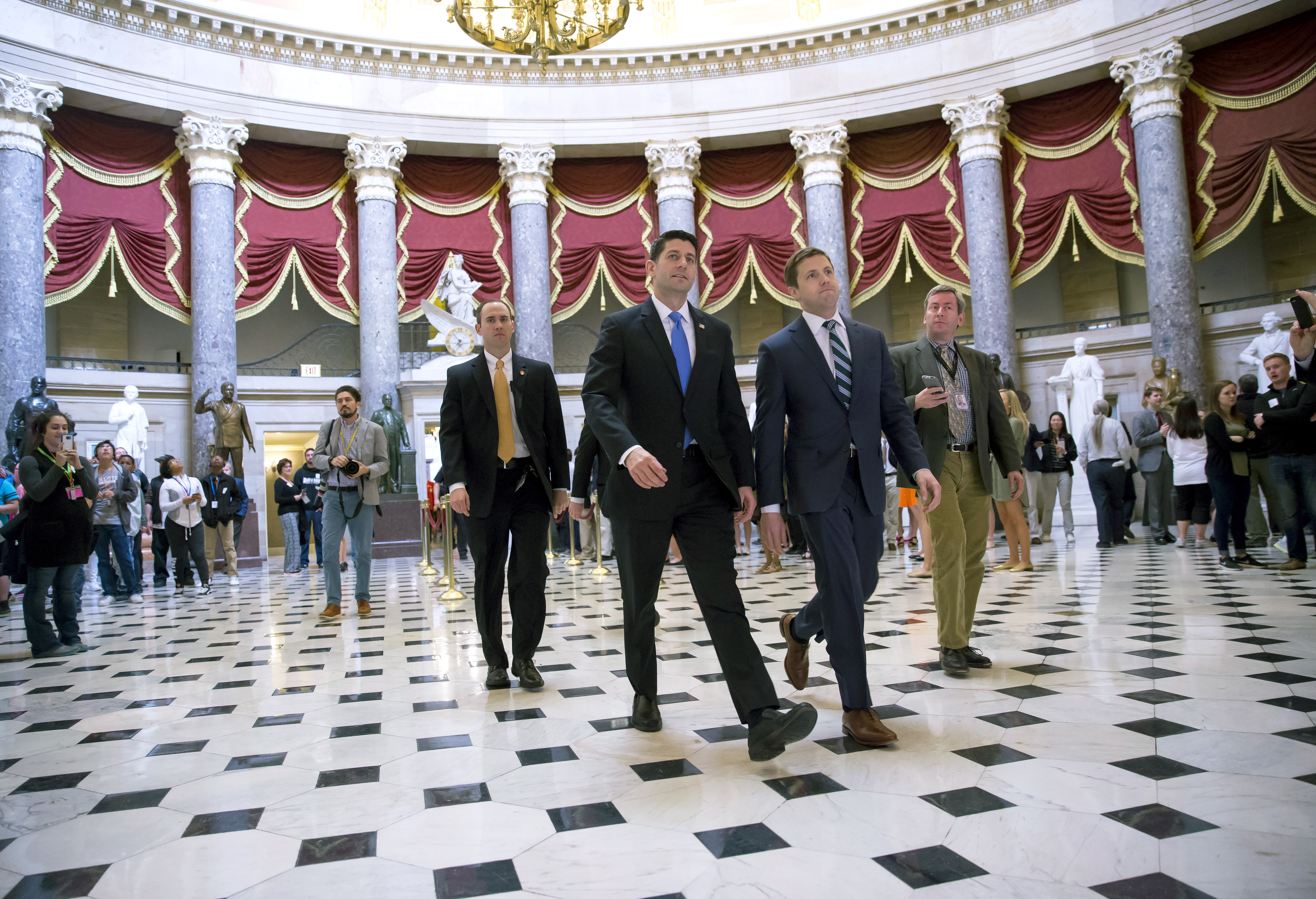 House Speaker Paul Ryan walks to the House chamber on Capitol Hill May 4, 2017 in Washington, DC.