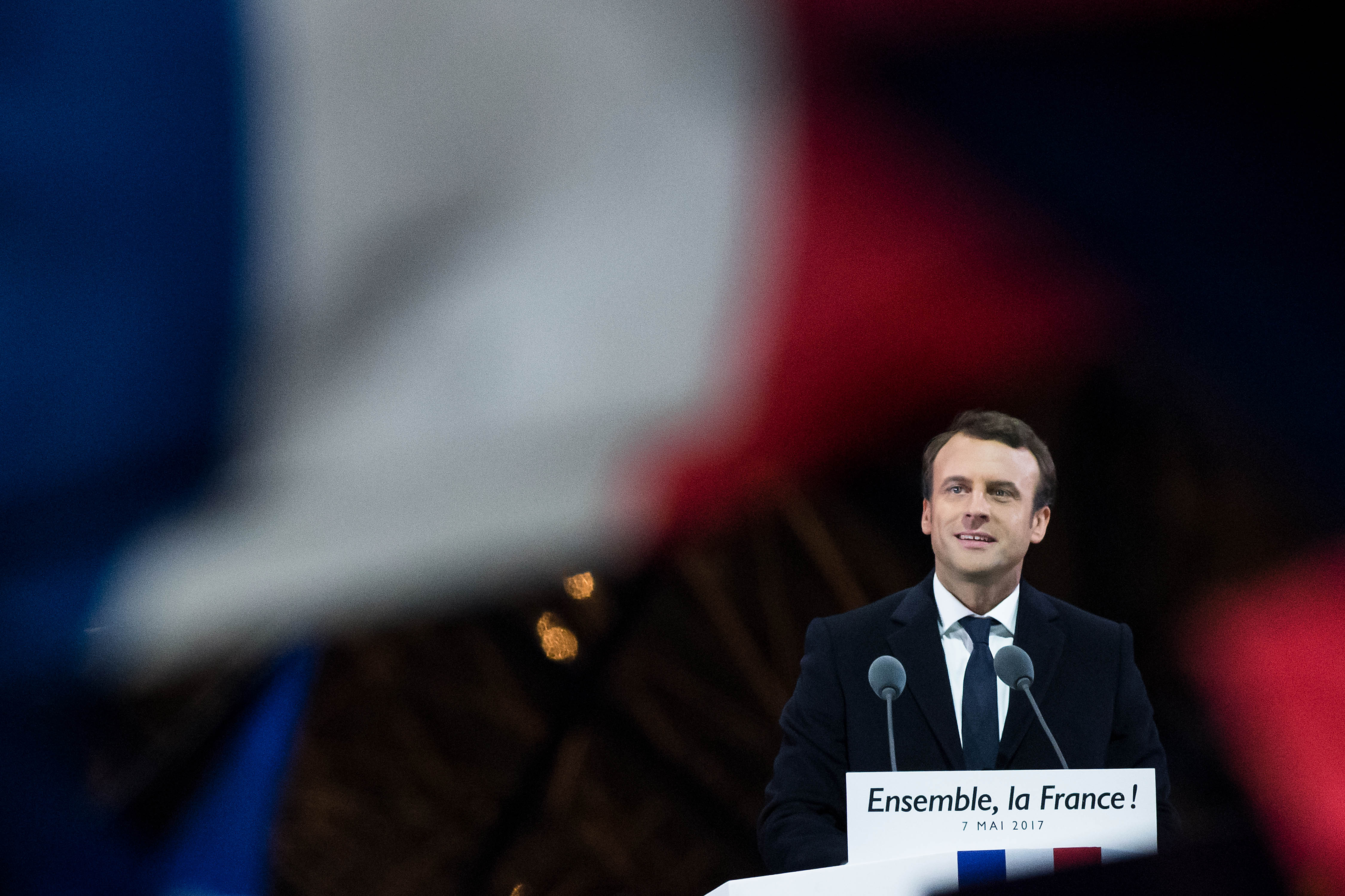 Presidential Candidate Emmanuel Macron Holds His Electoral Evening At Le Louvre  In Paris