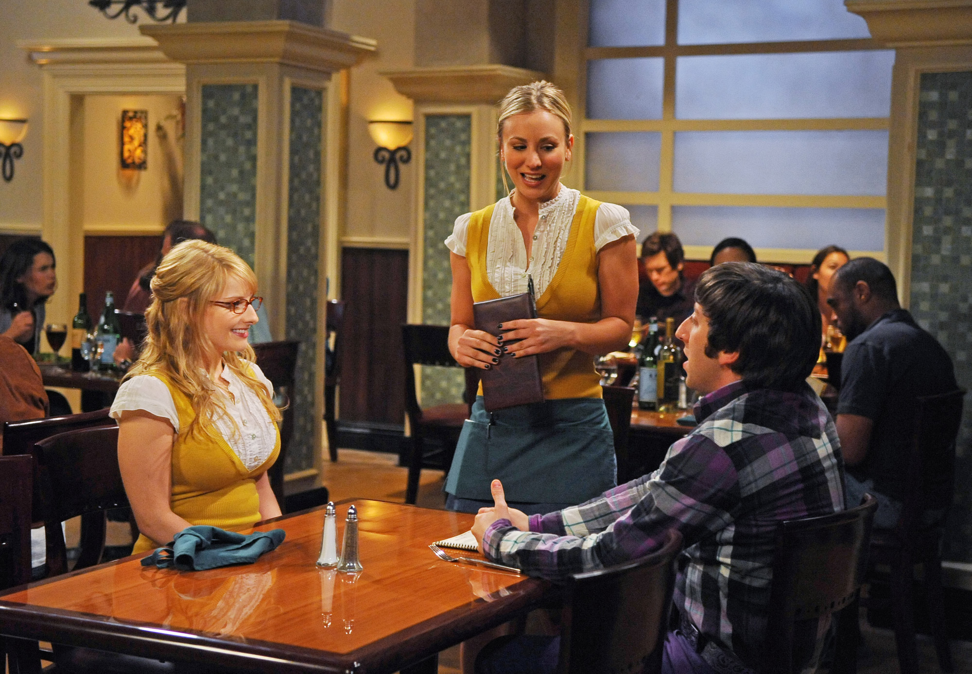 """""""The Hot Troll Deviation"""" -- An embarrassing secret of Wolowitz's comes to light on THE BIG BANG THEORY, Thursday, Oct. 14 (8:00-8:31 PM, ET/PT) on the CBS Television Network. pictured left to right: Melissa Rauch, Kaley Cuoco, Simon HelbergPhoto: Ron P. Jaffe/CBS©2010 CBS Broadcasting Inc. All Rights Reserved."""