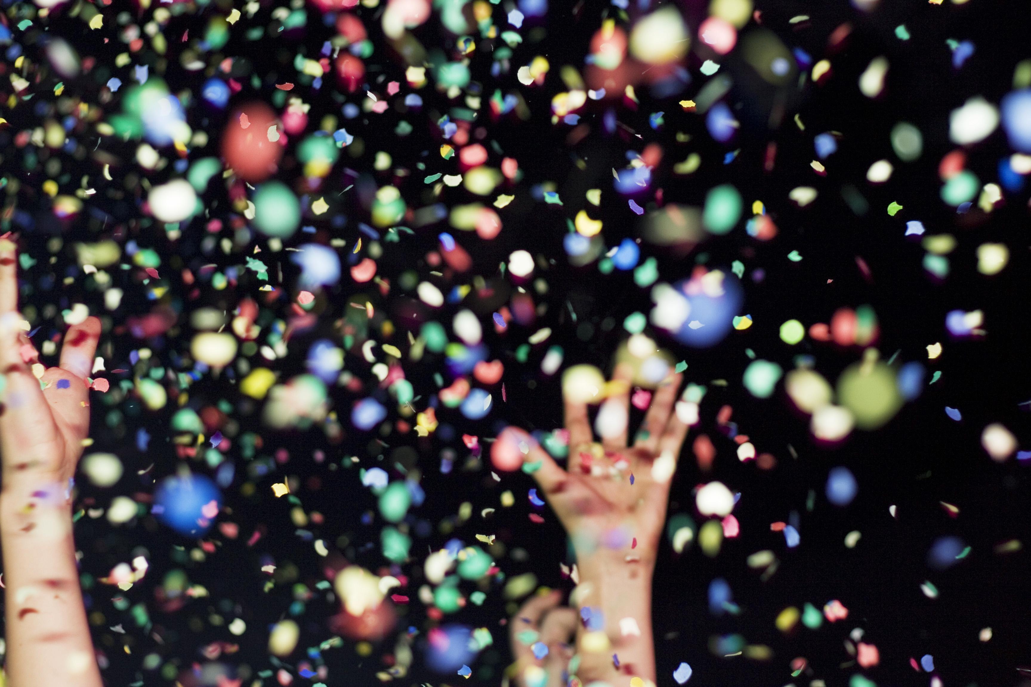 Confetti in the air