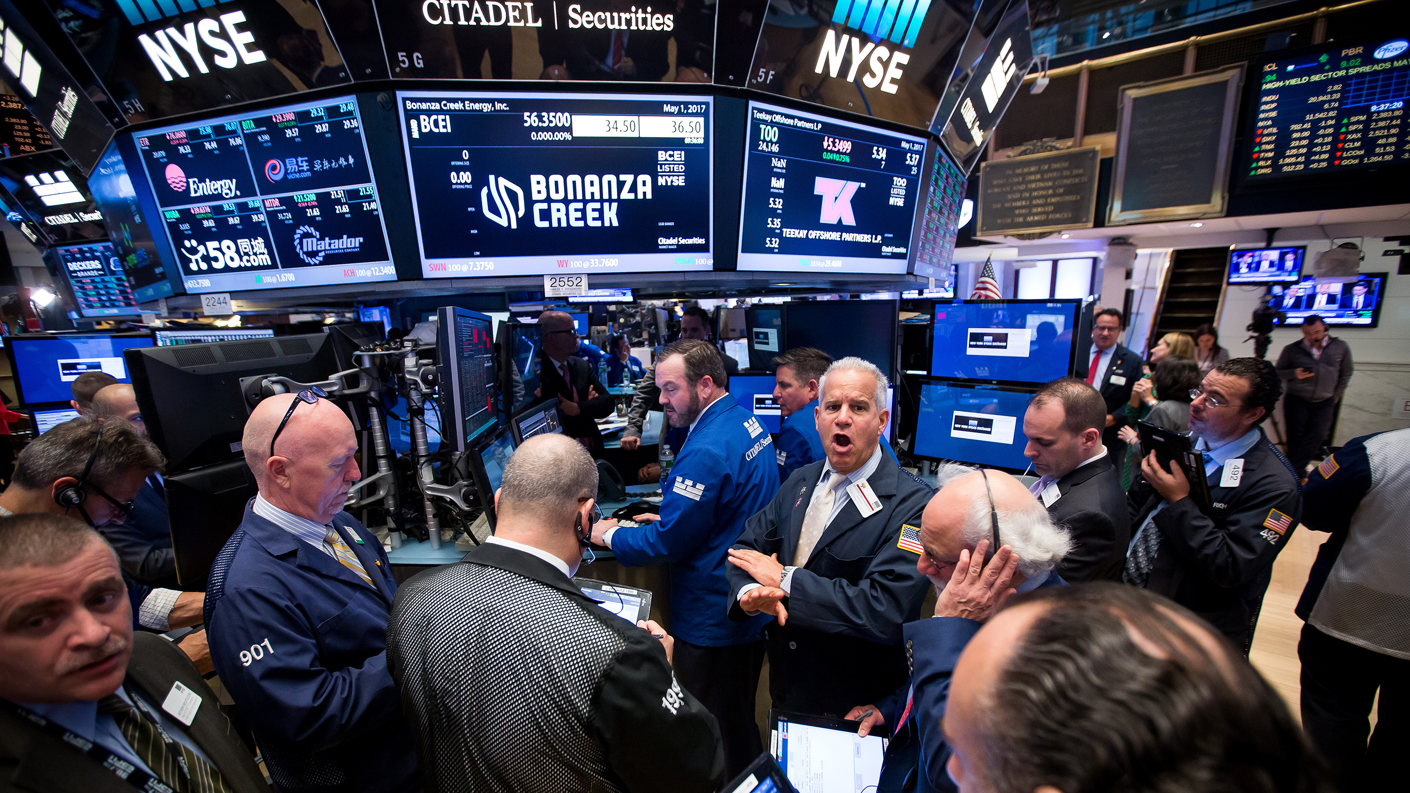 Trading On The Floor Of The NYSE As U.S. Stocks Advanced