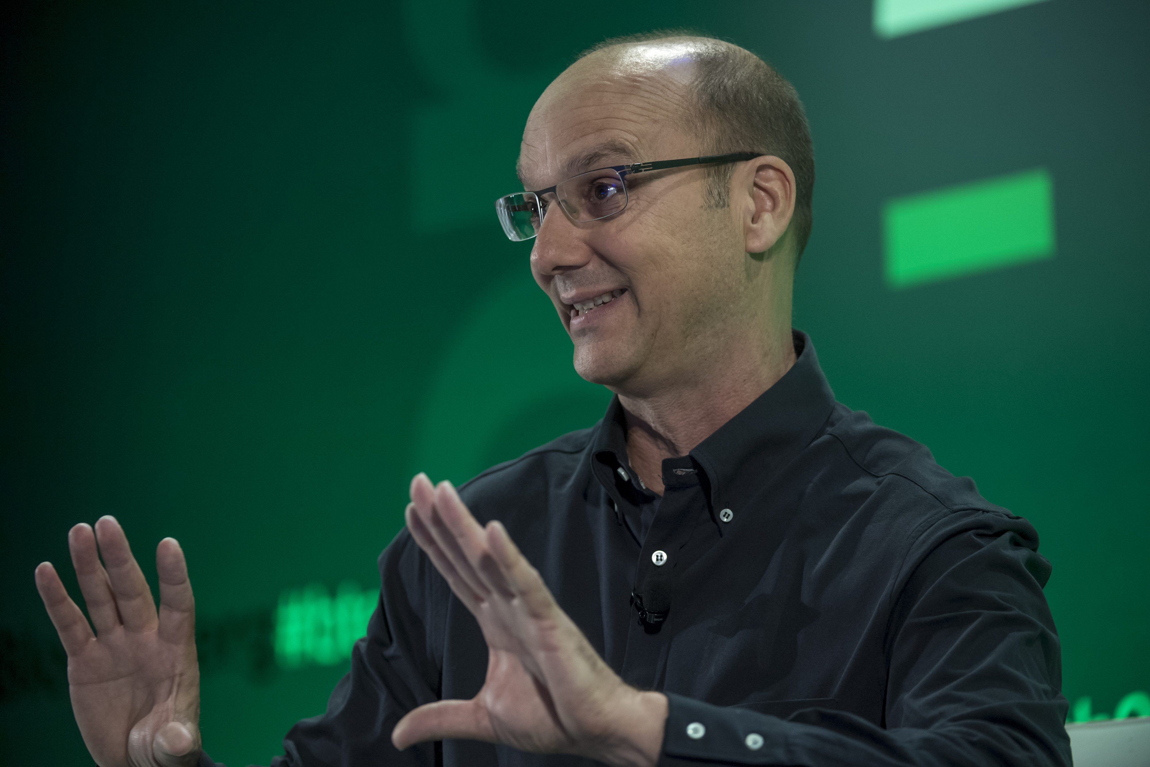 Andy Rubin speaks at a tech conference in 2016
