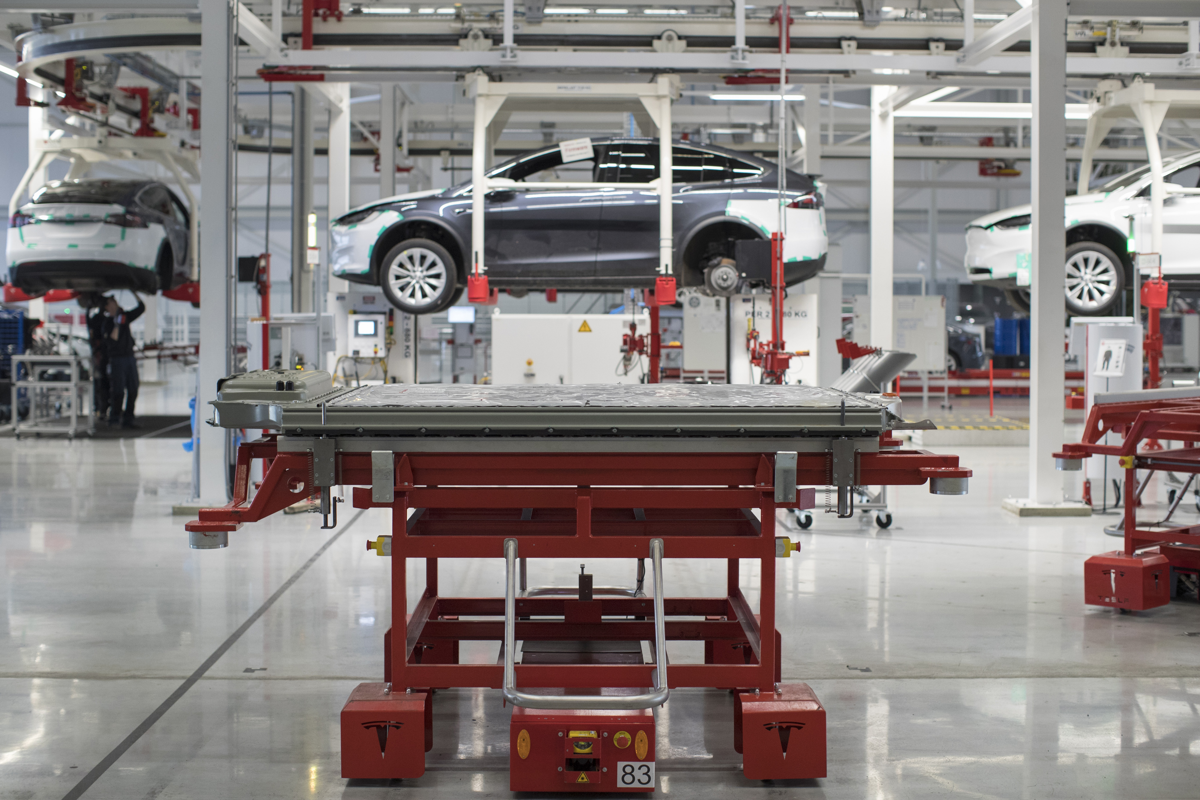 Tesla Model X SUV Assembly Inside A Tesla Motors Inc. Factory