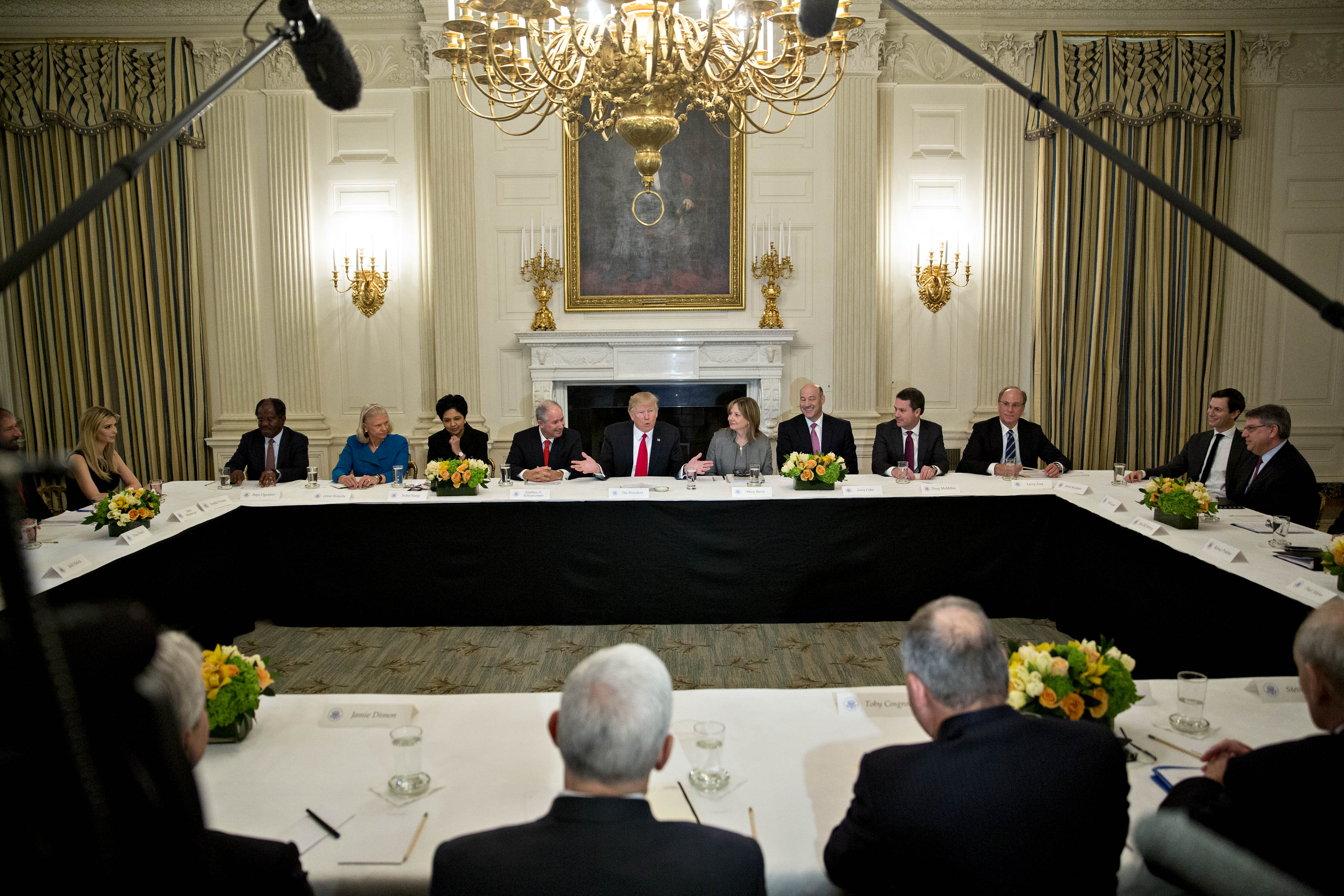 President Trump Participates In Strategic And Policy Forum At The White House