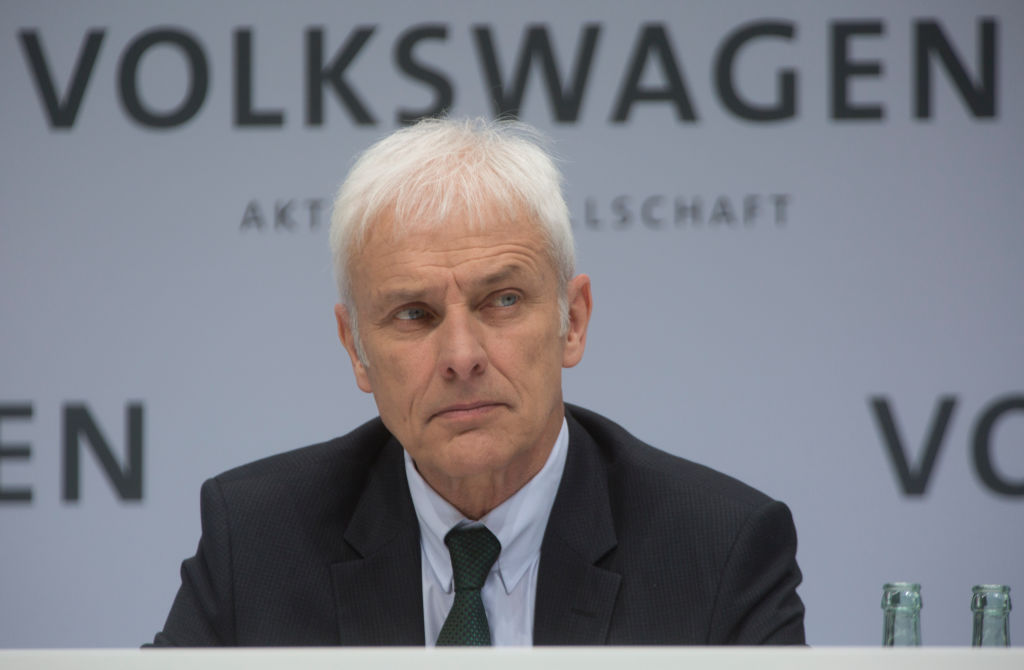 Annual Media Conference of Volkswagen AG in Wolfsburg. Matthias Mueller, CEO of Volkswagen AG, during the press conference. In the background lettering Volkswagen.