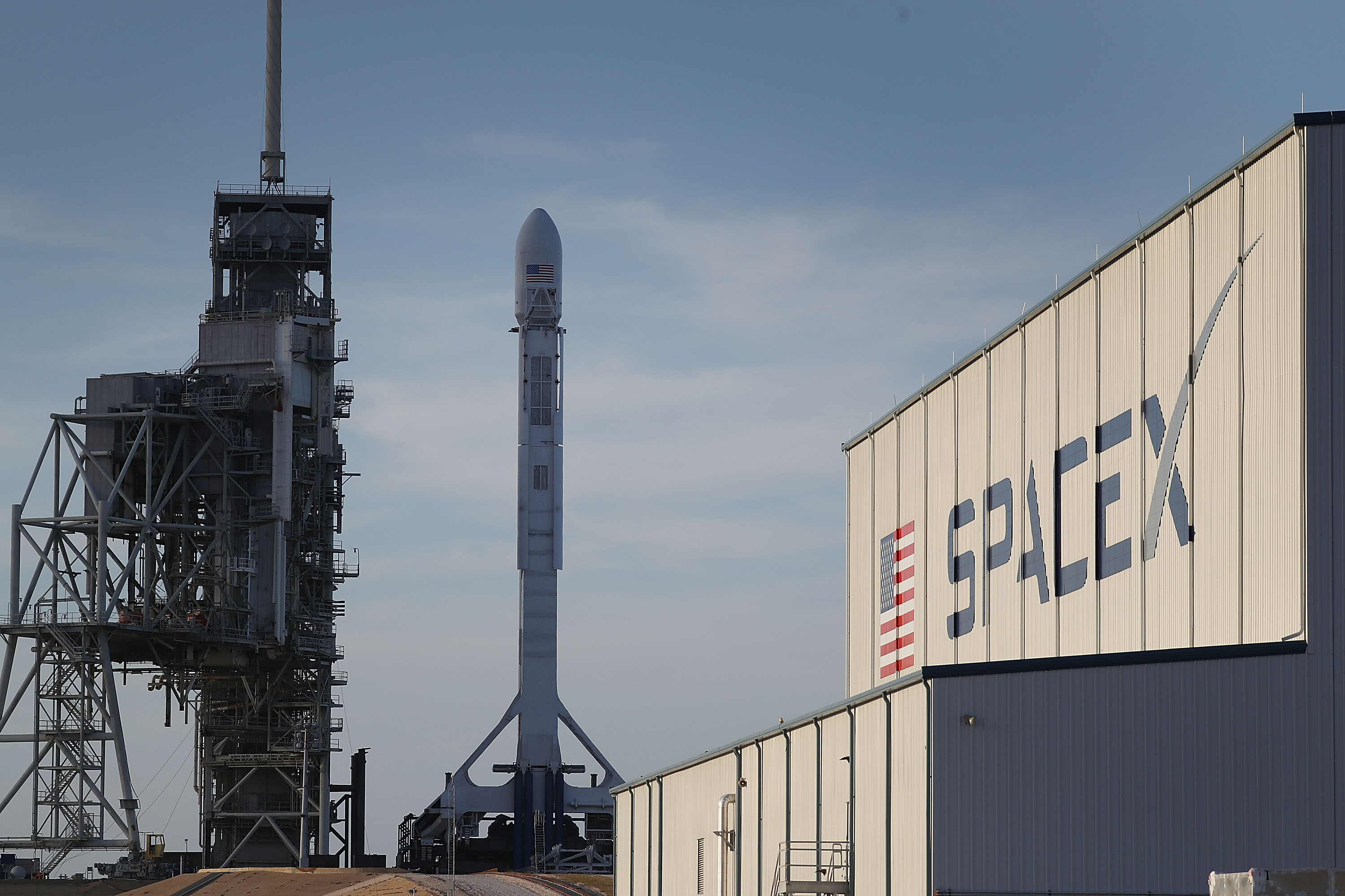 SpaceX Prepares To Launch A Falcon 9 Rocket