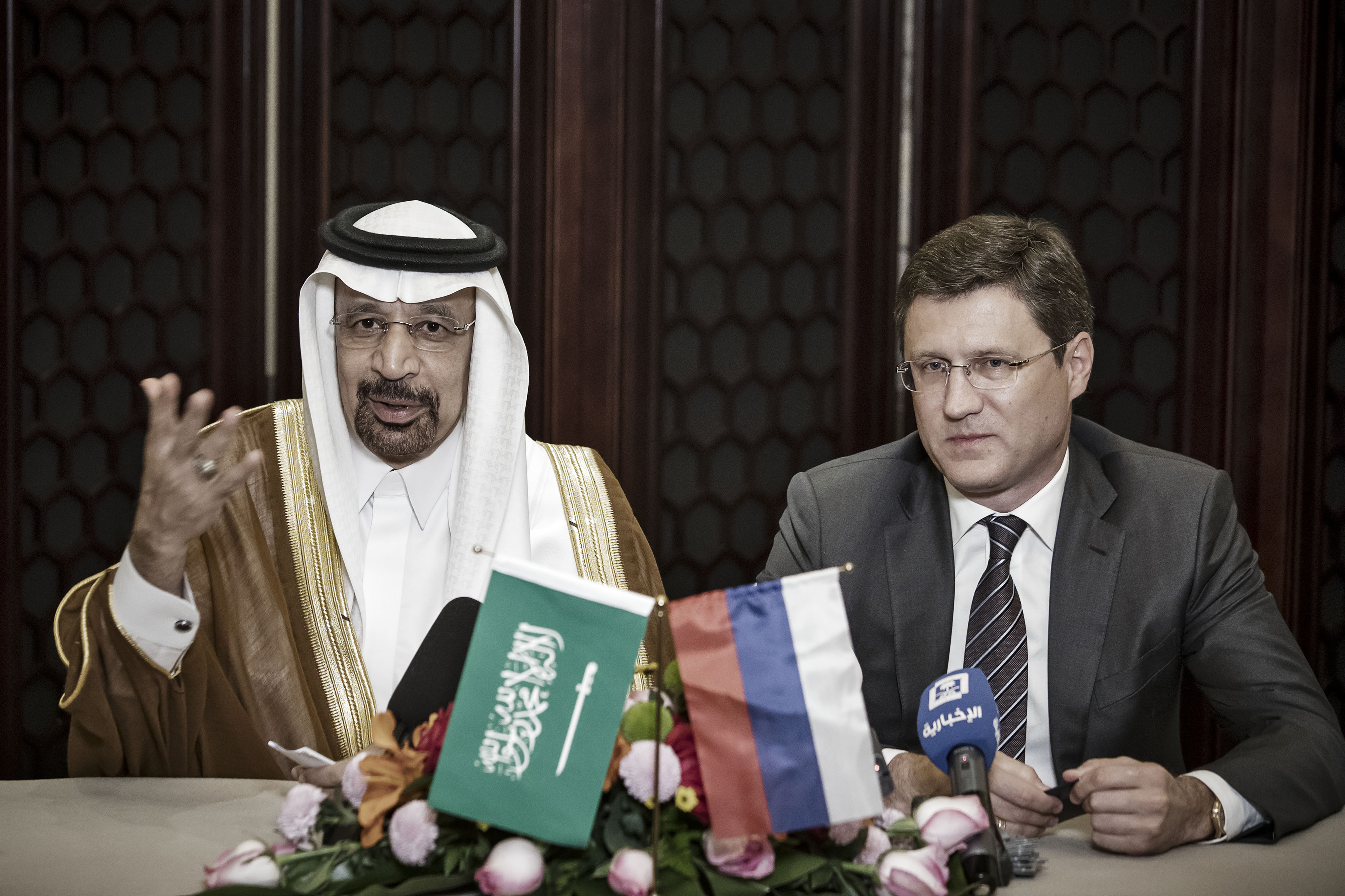 Saudi Arabia's Energy Minister Khalid Bin Abdulaziz Al-Falih And Russia's Energy Minister Alexander Novak News Conference