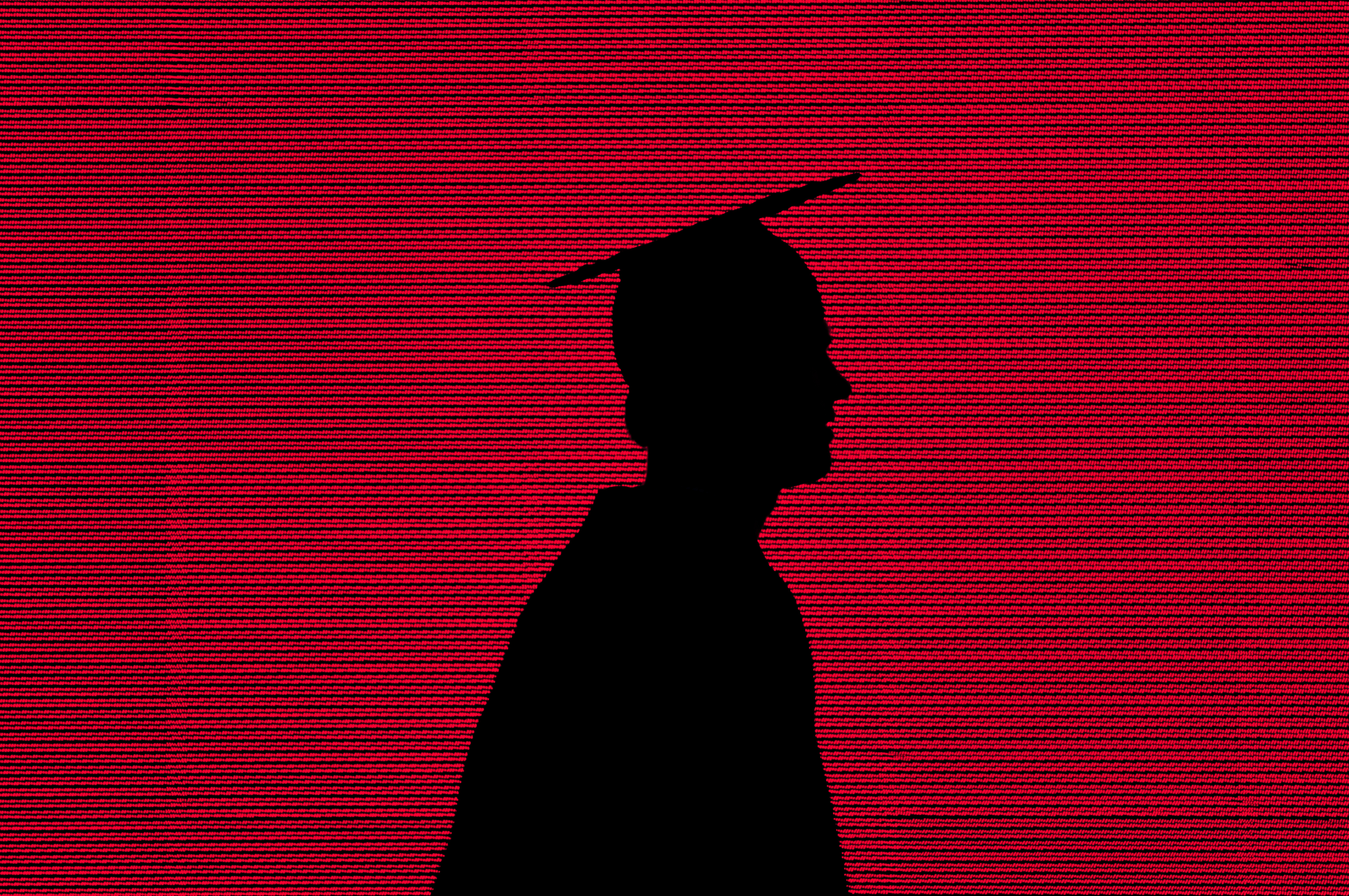 USA, Massachusetts, Cambridge, College graduate in front of red LED screen