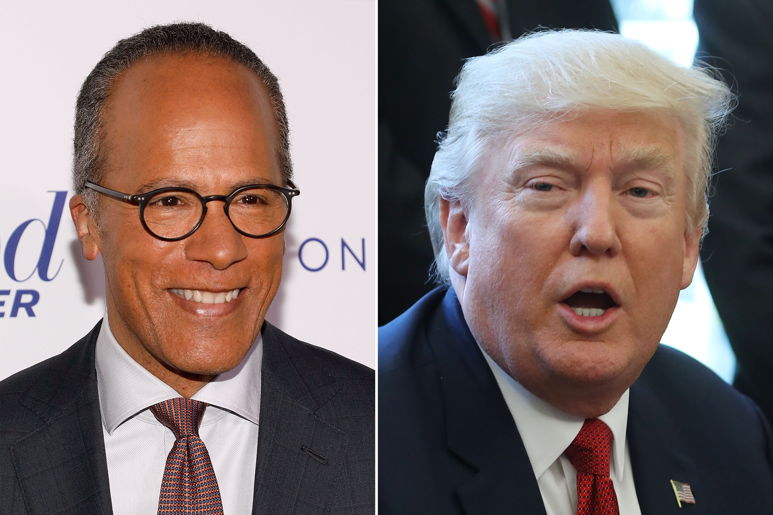 Lester Holt and Donald Trump.