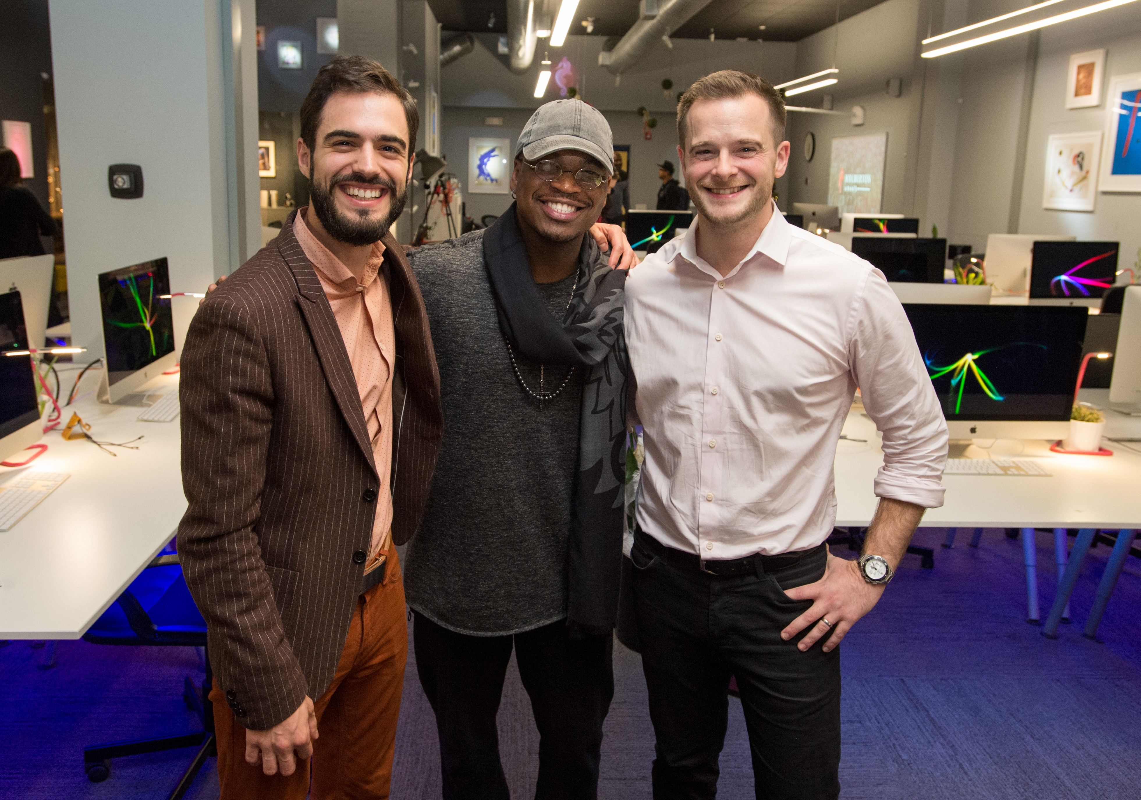 Musician Ne-Yo flanked by Holberton School founders Sylvain Kalache (l.) and Julien Barbier.