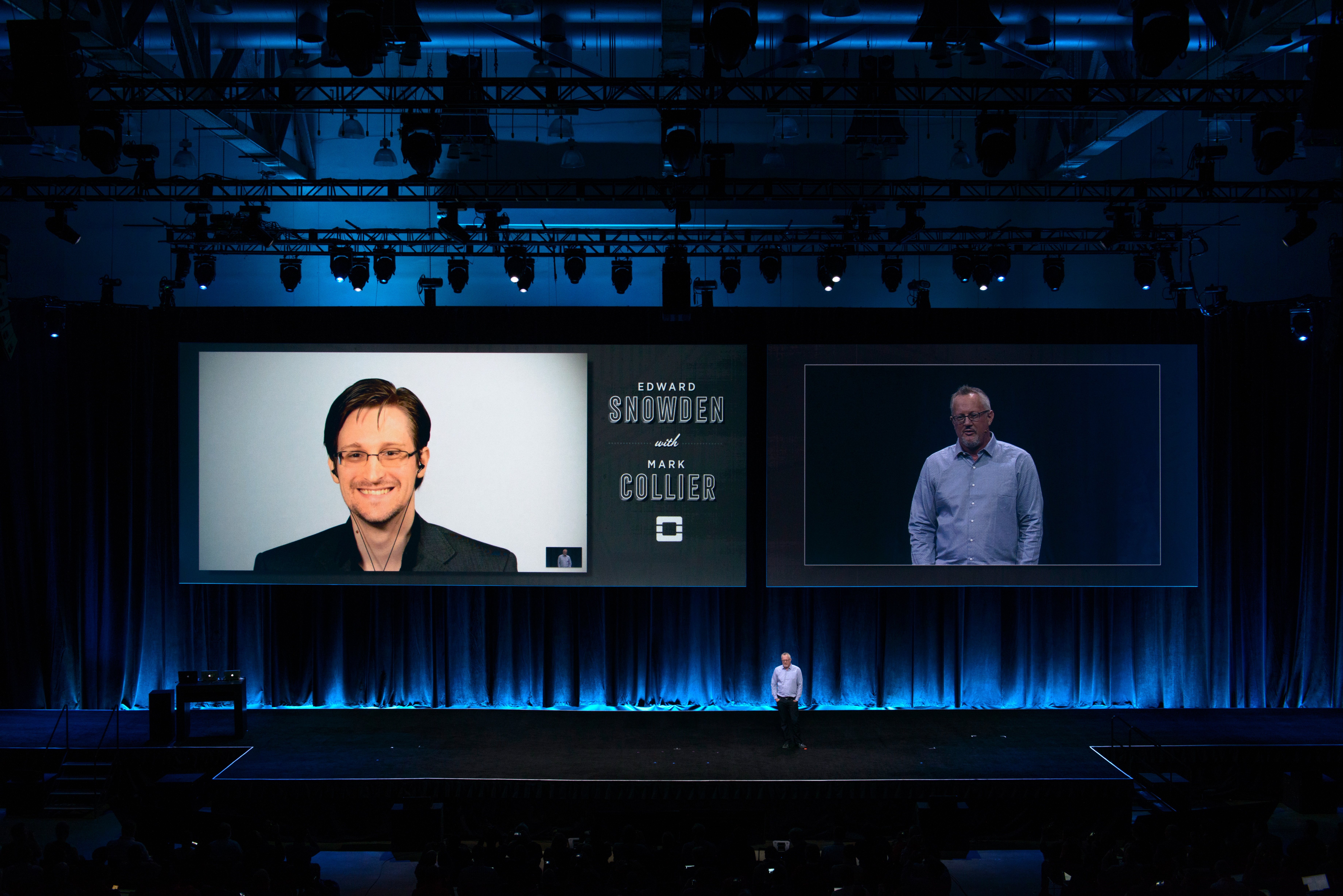 Edward Snowden takes questions at OpenStack Summit