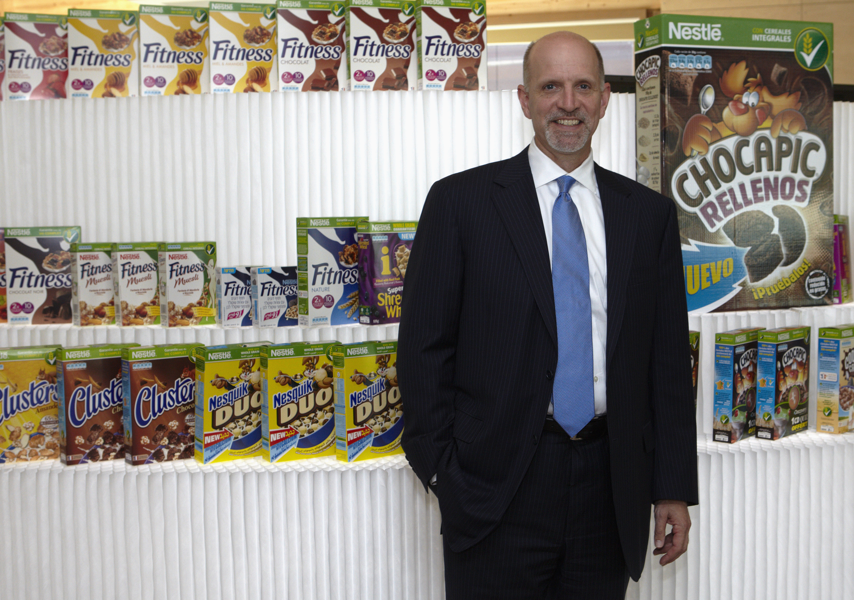 Jeff Harmening, President and CEO of Cereal Partners Worldwide (CPW), a General Mills' joint venture with Nestle, poses in front of products at the Innovation Center in Orbe