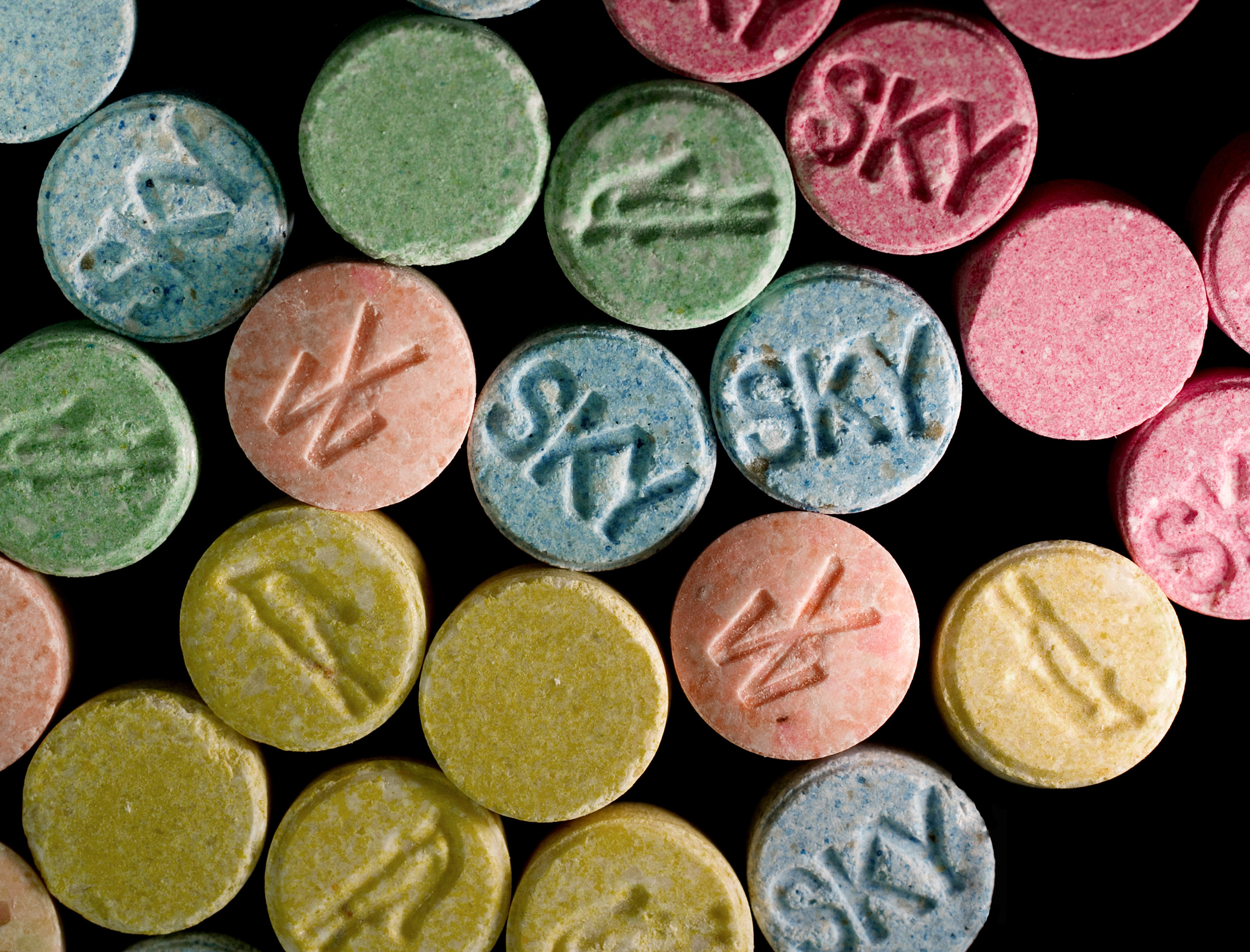 Undated handout of ecstasy pills, which contain MDMA as their main chemical