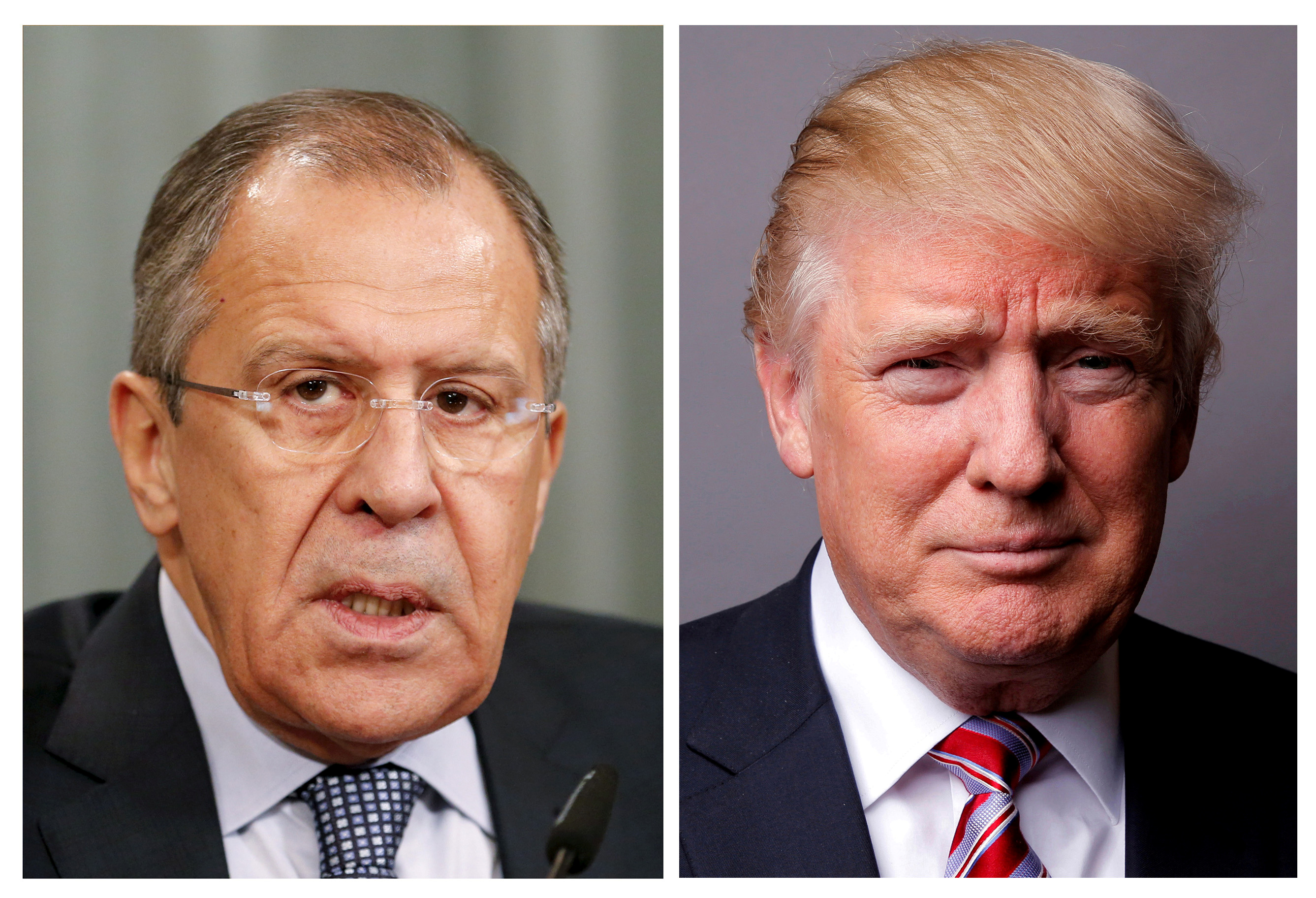 FILE PHOTO: Combination of file photos showing Russian Foreign Minister Sergei Lavrov and U.S. President Donald Trump