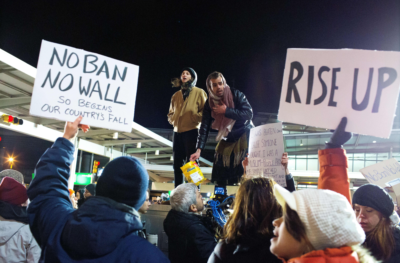 Demonstration Against Trump's Travel Ban At JFK