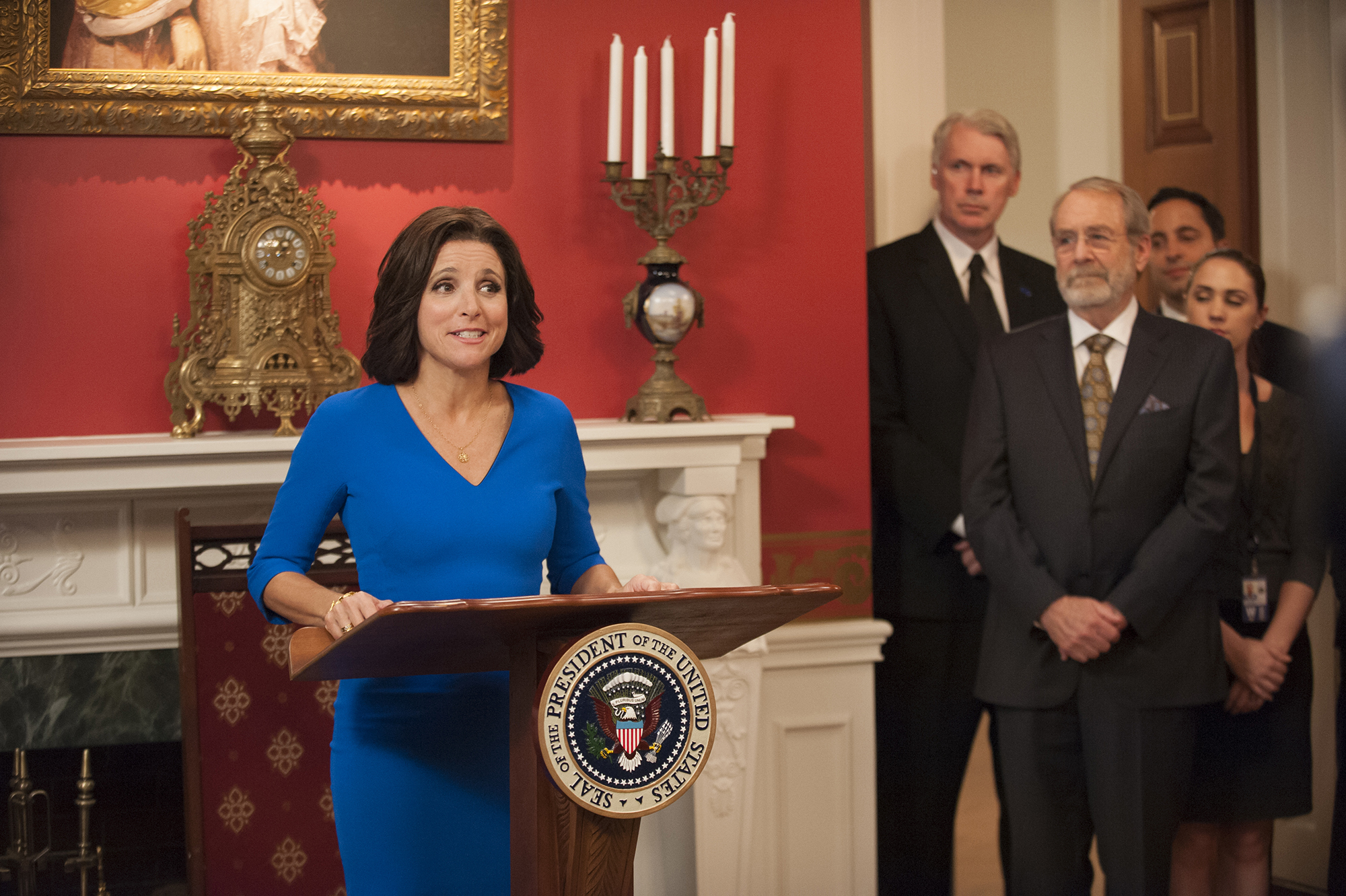 Julia Louis Dreyfous as Selina Meyer, Vice President of the United States in HBO's comedy Veep.