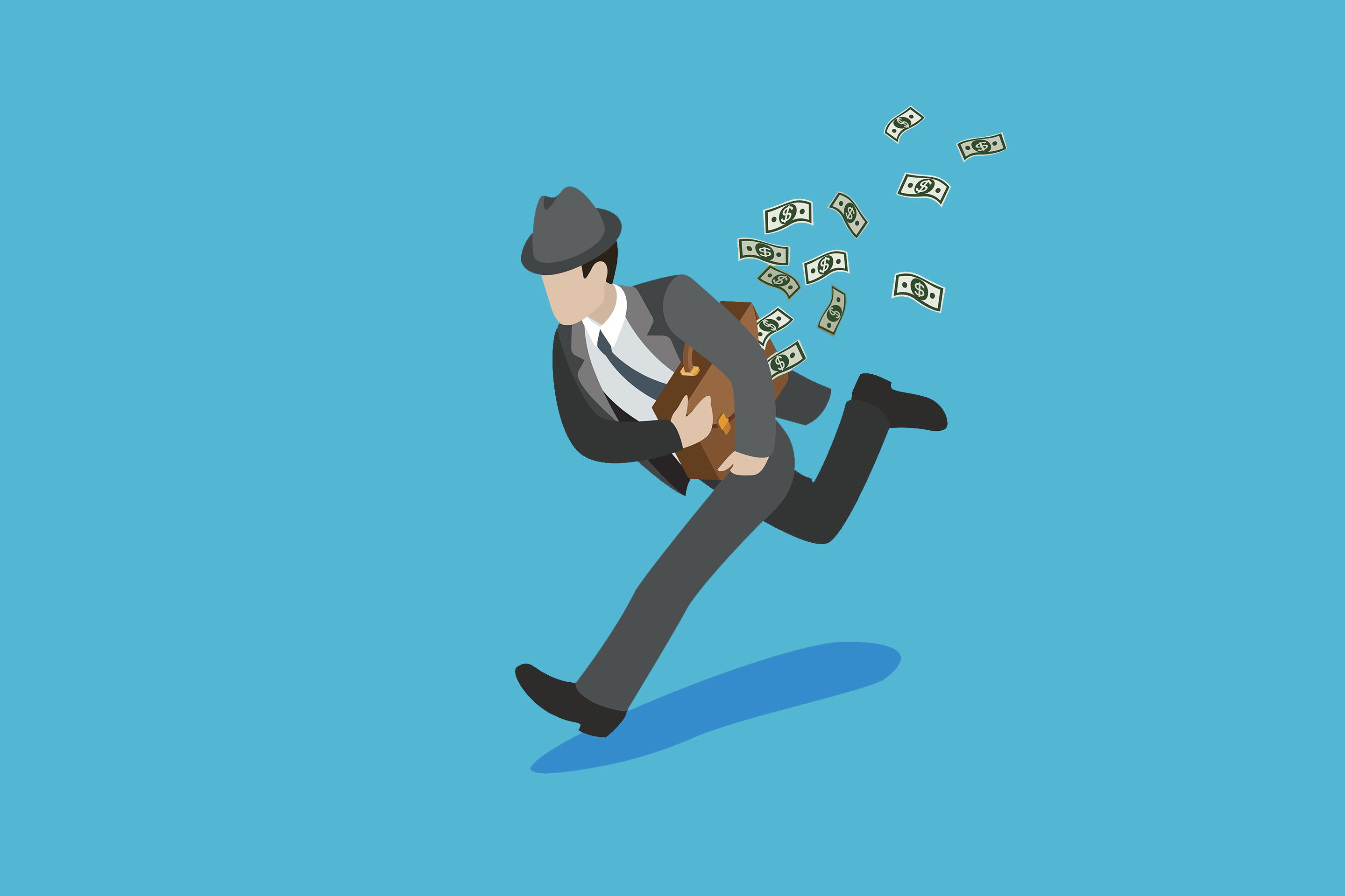 Flat isometric sharper businessman running away with briefcase full of money banknotes vector illustration. 3d isometry Business stealing concept.