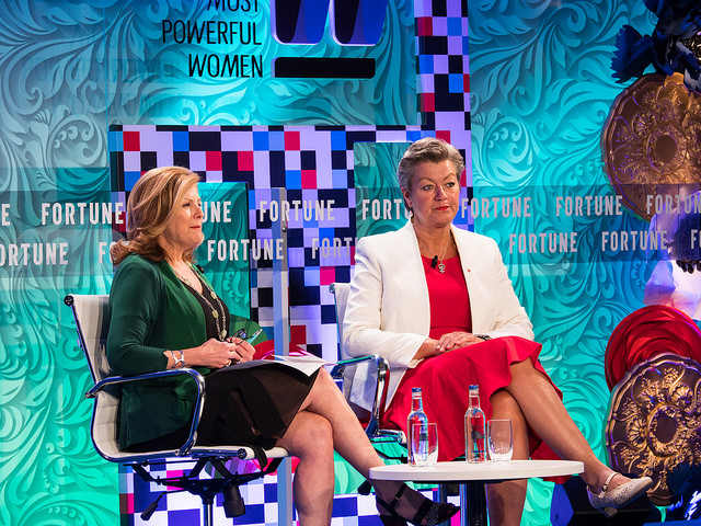 Ylva Johansson, Sweden's Minister of Employment and Integration, at the Fortune Most Powerful Women Summit at the Dorchester Hotel, London, on June 12 2017. Pictures by Peter Dench for Fortune Magazine.