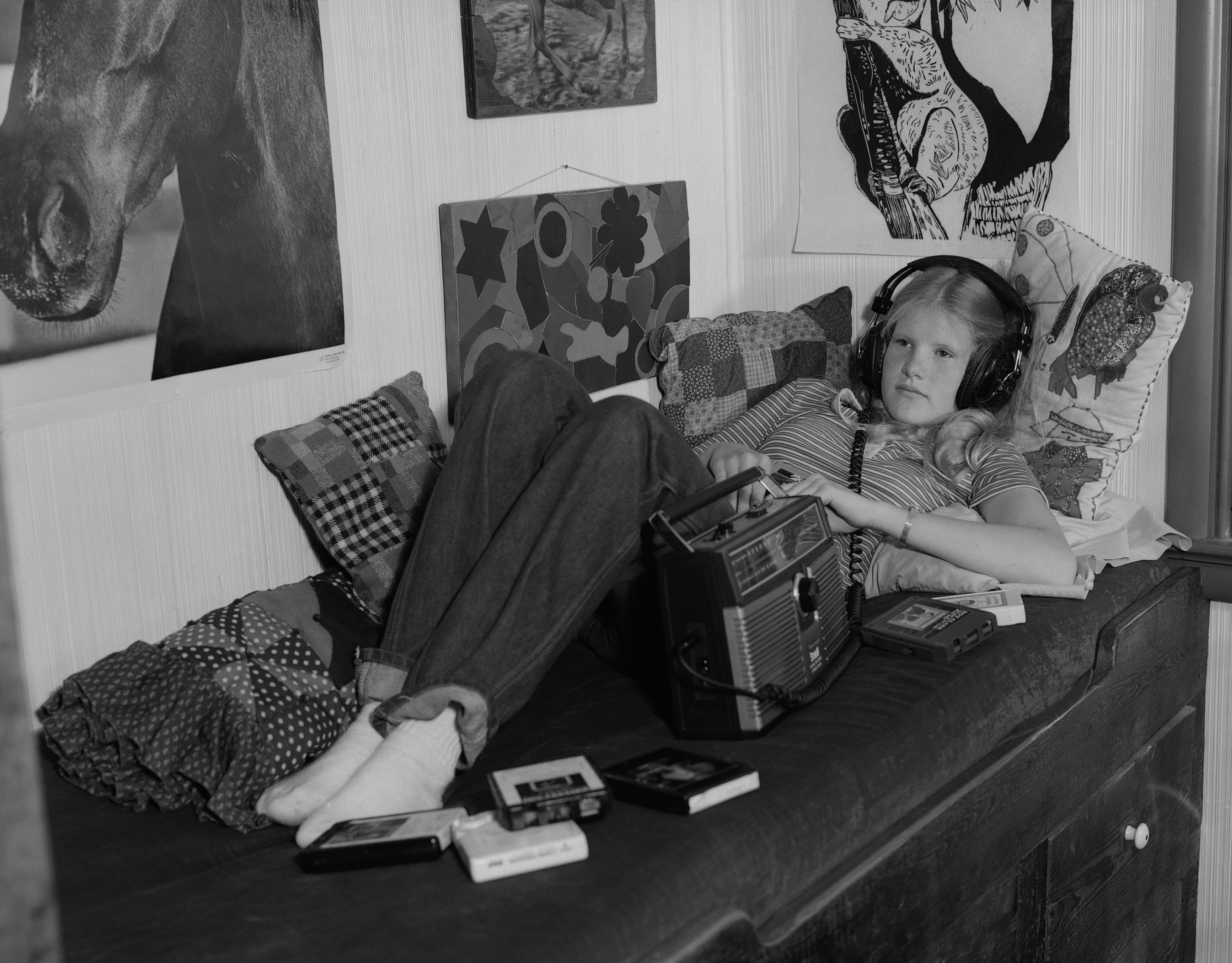 Girl Listening Son With Headphones