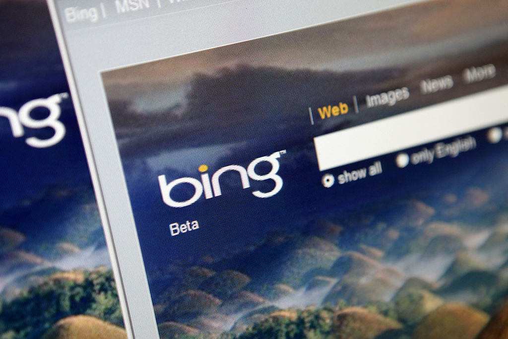 Microsoft Corp.'s Bing search engine is displayed for a phot