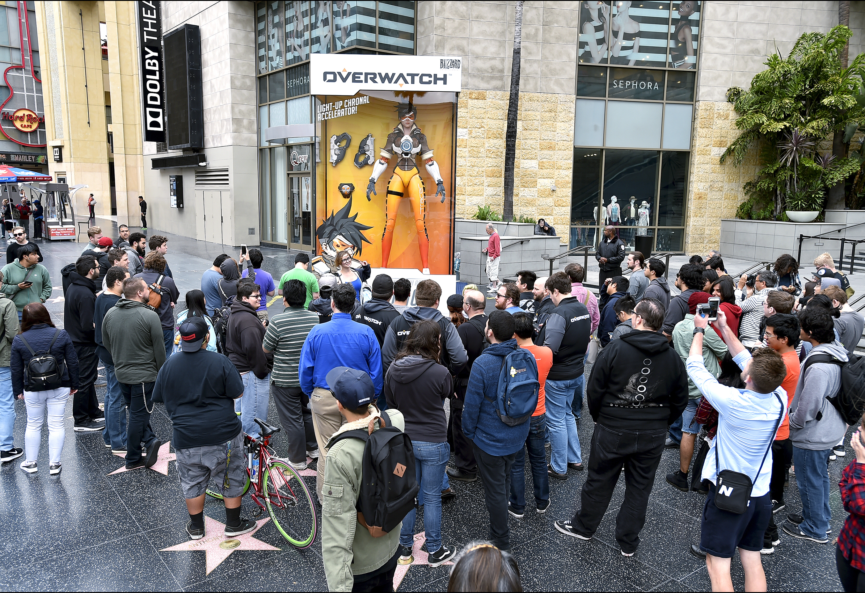 "The Tracer character was dropped on the corner of Hollywood and Highland to promote the upcoming release of ""Overwatch"" in May 2016. Only two other characters were placed internationally, and that was in Paris and South Korea."