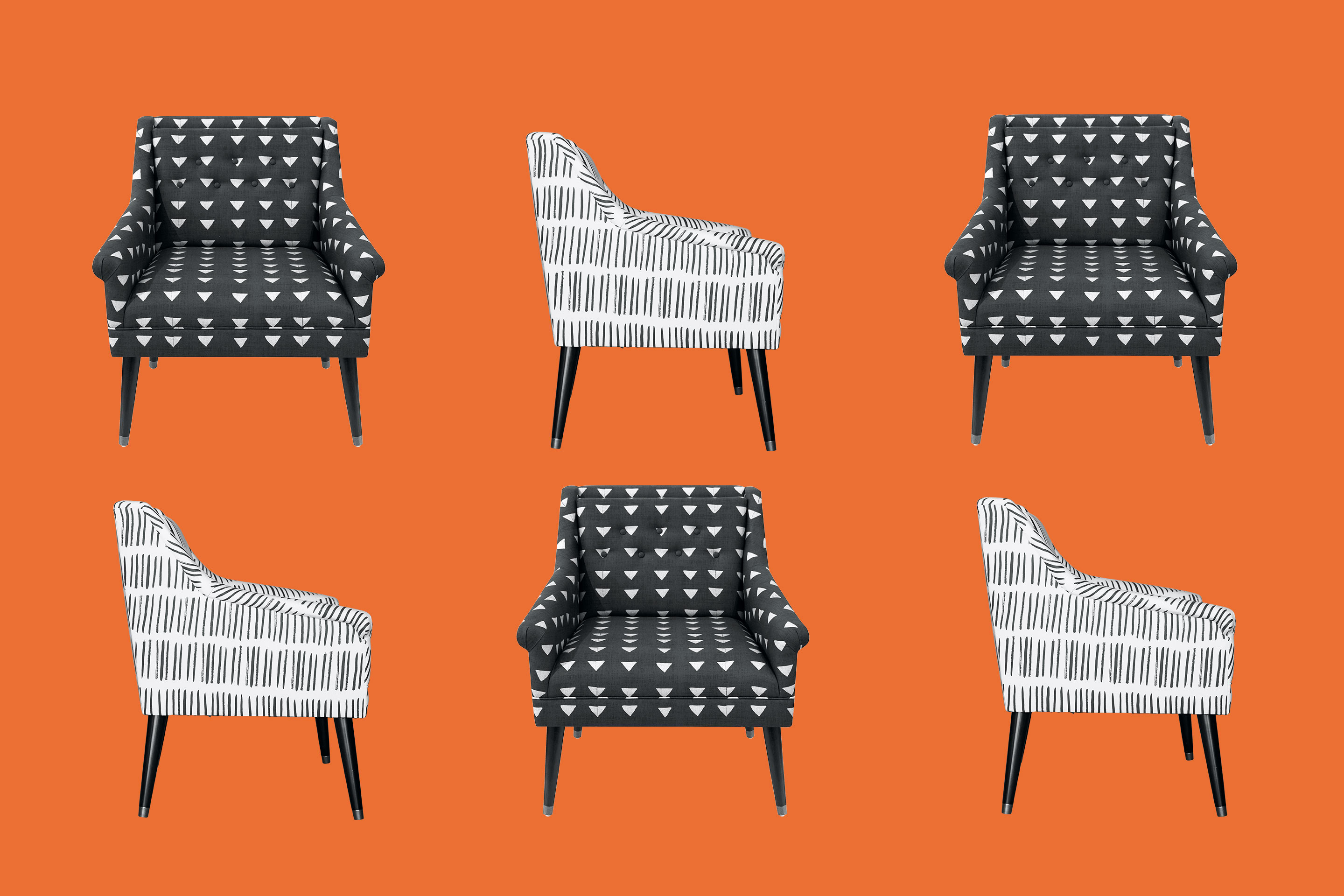 On-trend sample chairs by the on-demand furniture startup, Cloth & Company.