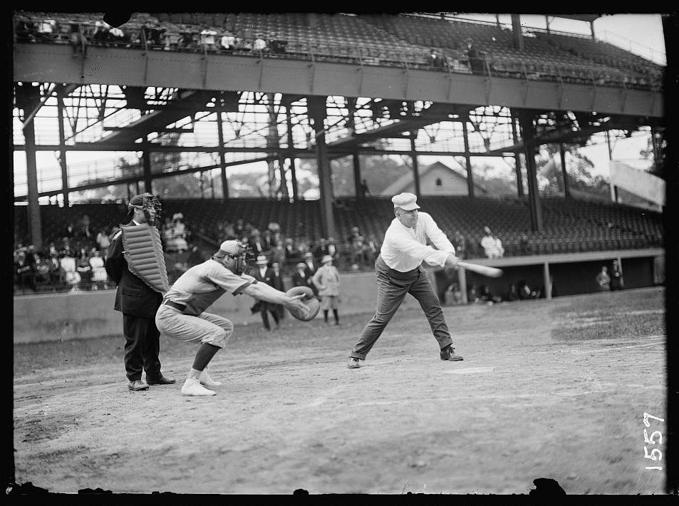 Indiana Representative George W. Rauch at bat in a congressional baseball game circa 1911.