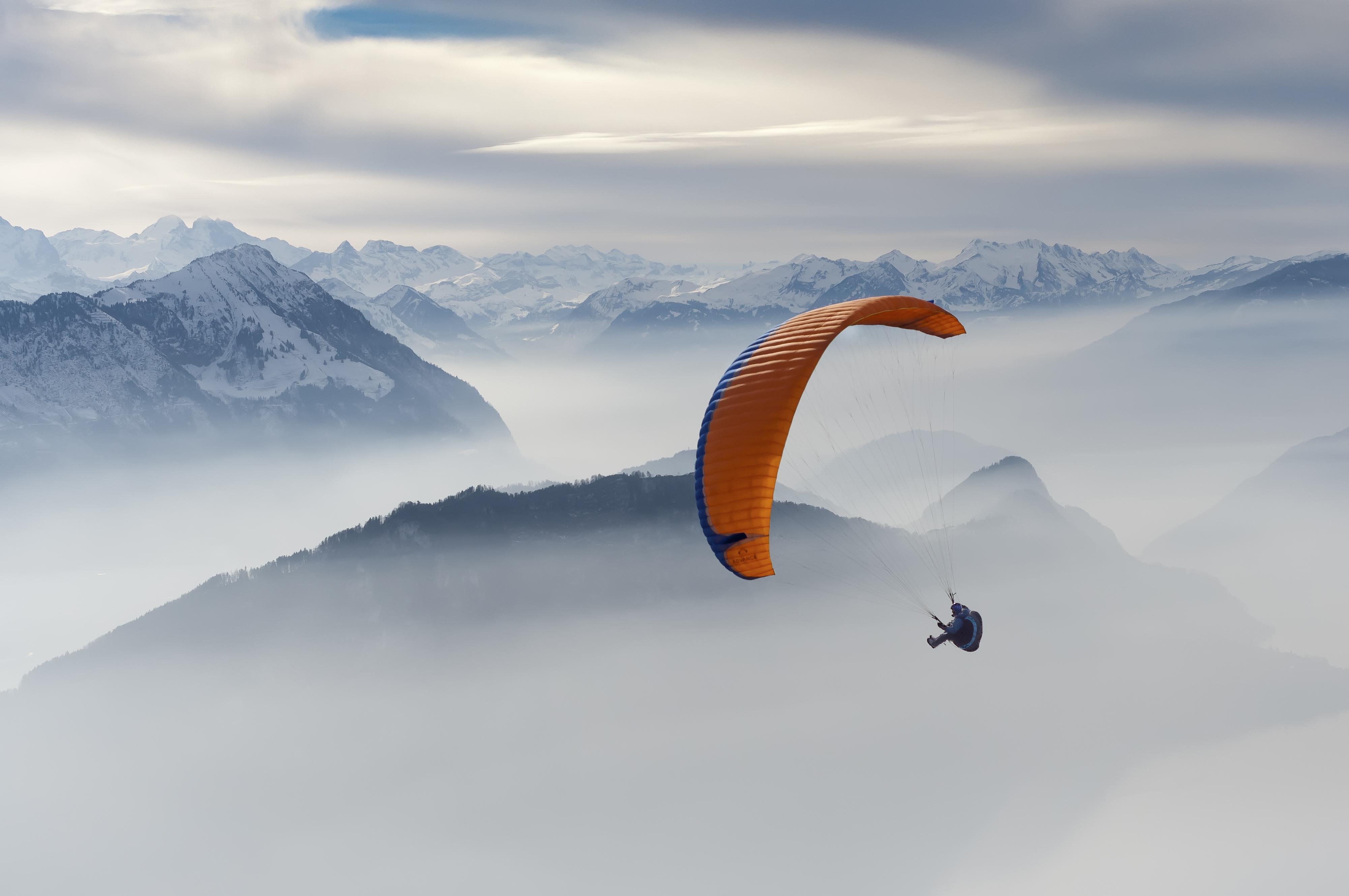 Paraglider over Lake Lucerne, Switzerland