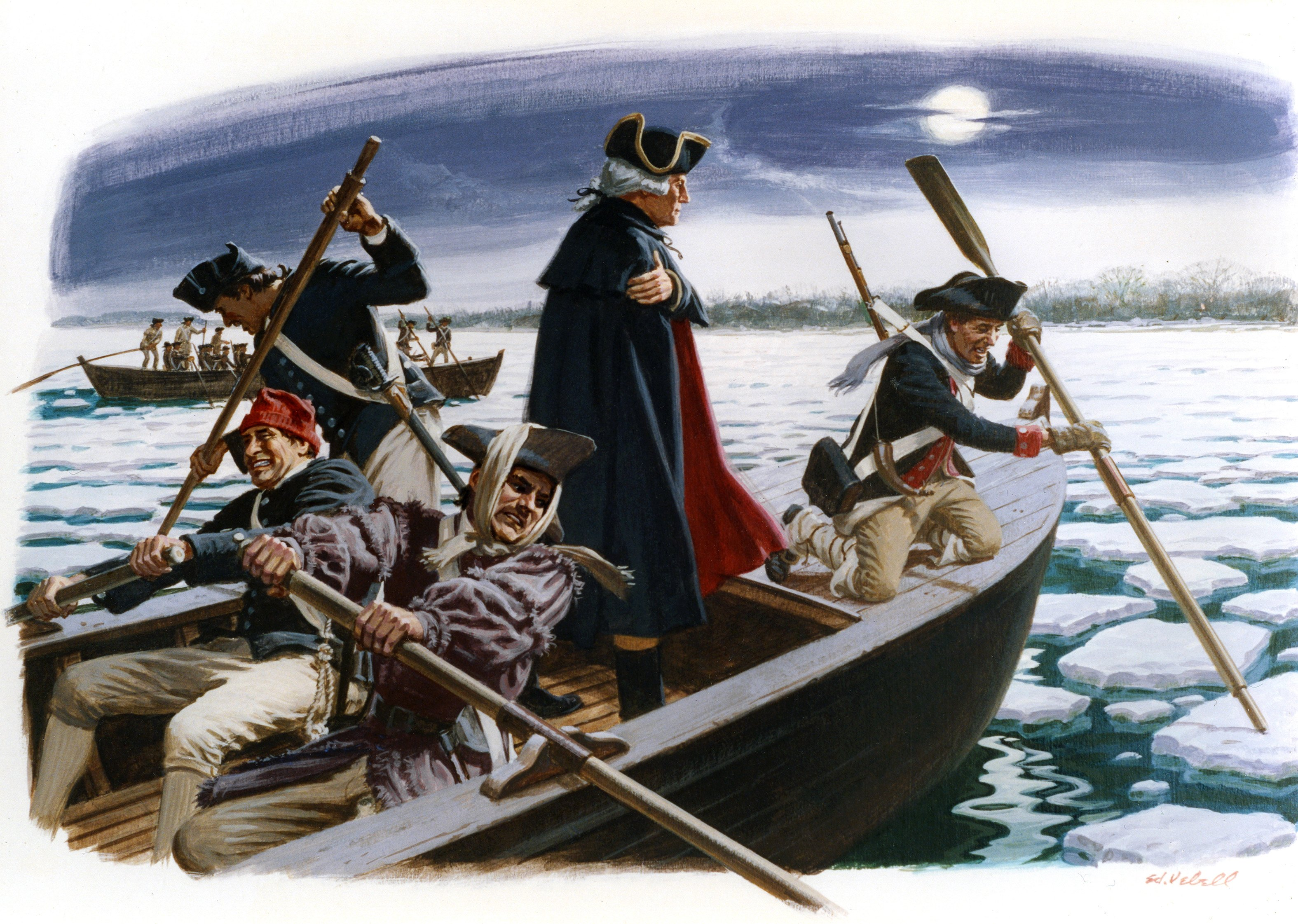 A painting depicting General George Washington's crossing of the Delaware River from on December 25, 1776 between Pennsylvania and New Jersey.