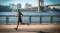 Mature man running along waterfront, New York, USA