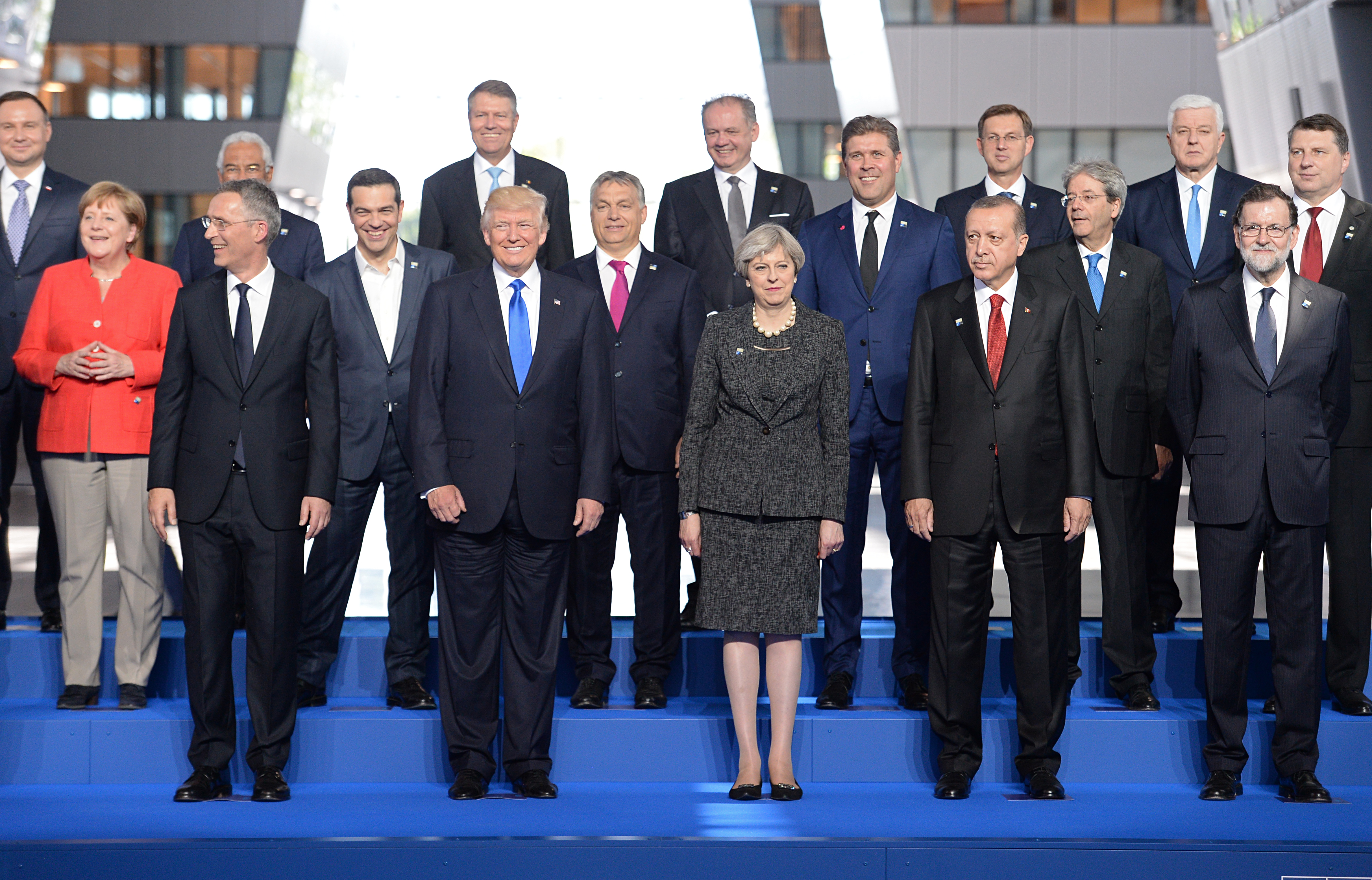 German Chancellor Angela Merkel, (front left to right) NATO Secretary General Jens Stoltenberg, US President Donald Trump, Prime Minister Theresa May and President of Turkey Recep Tayyip Erdogan, during the North Atlantic Treaty Organisation (NATO) summit on May 25, 2017 in Brussels, Belgium.