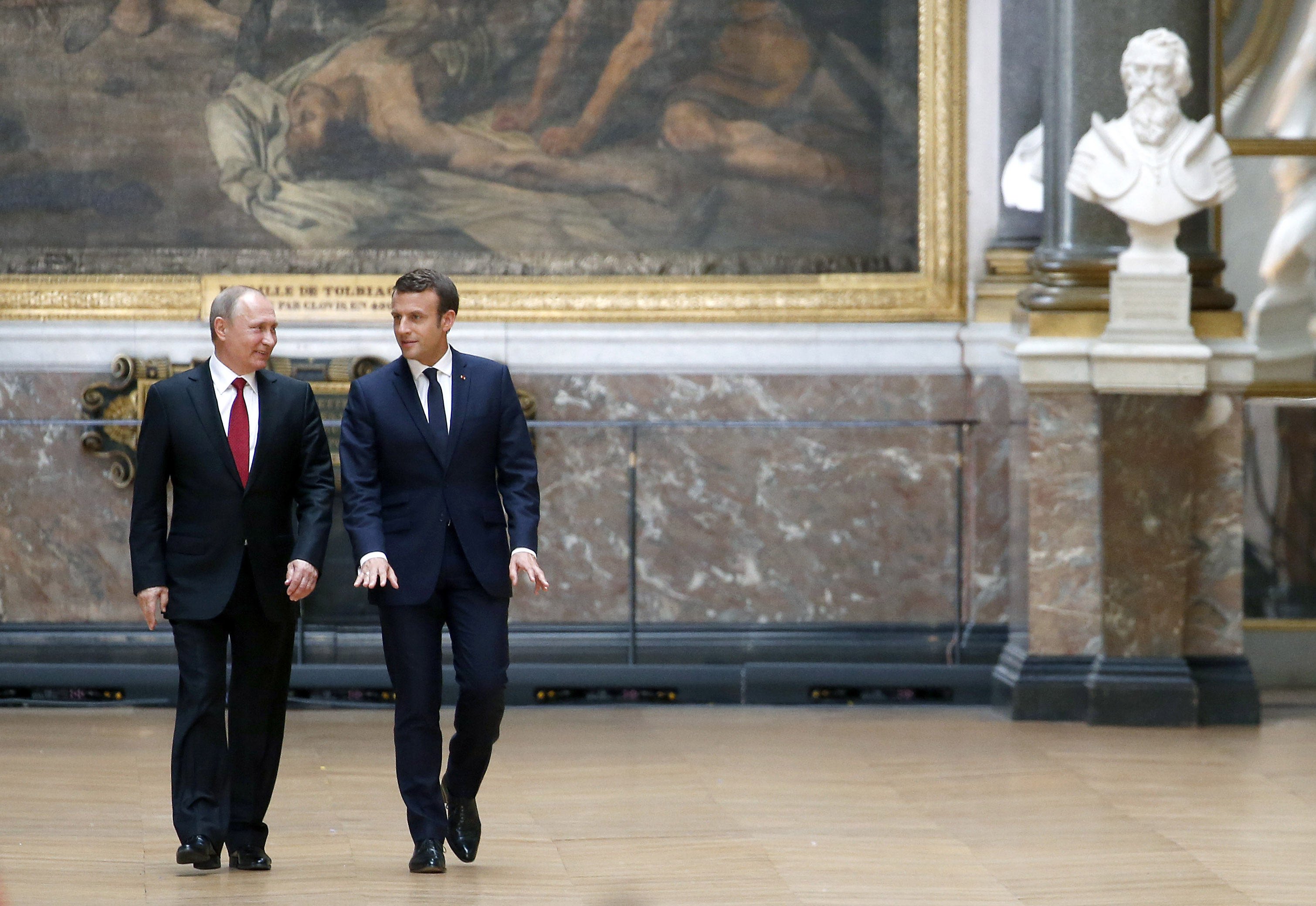 French President Emmanuel Macron Receives Vladimir Putin, Russian President At Chateau De Versailles
