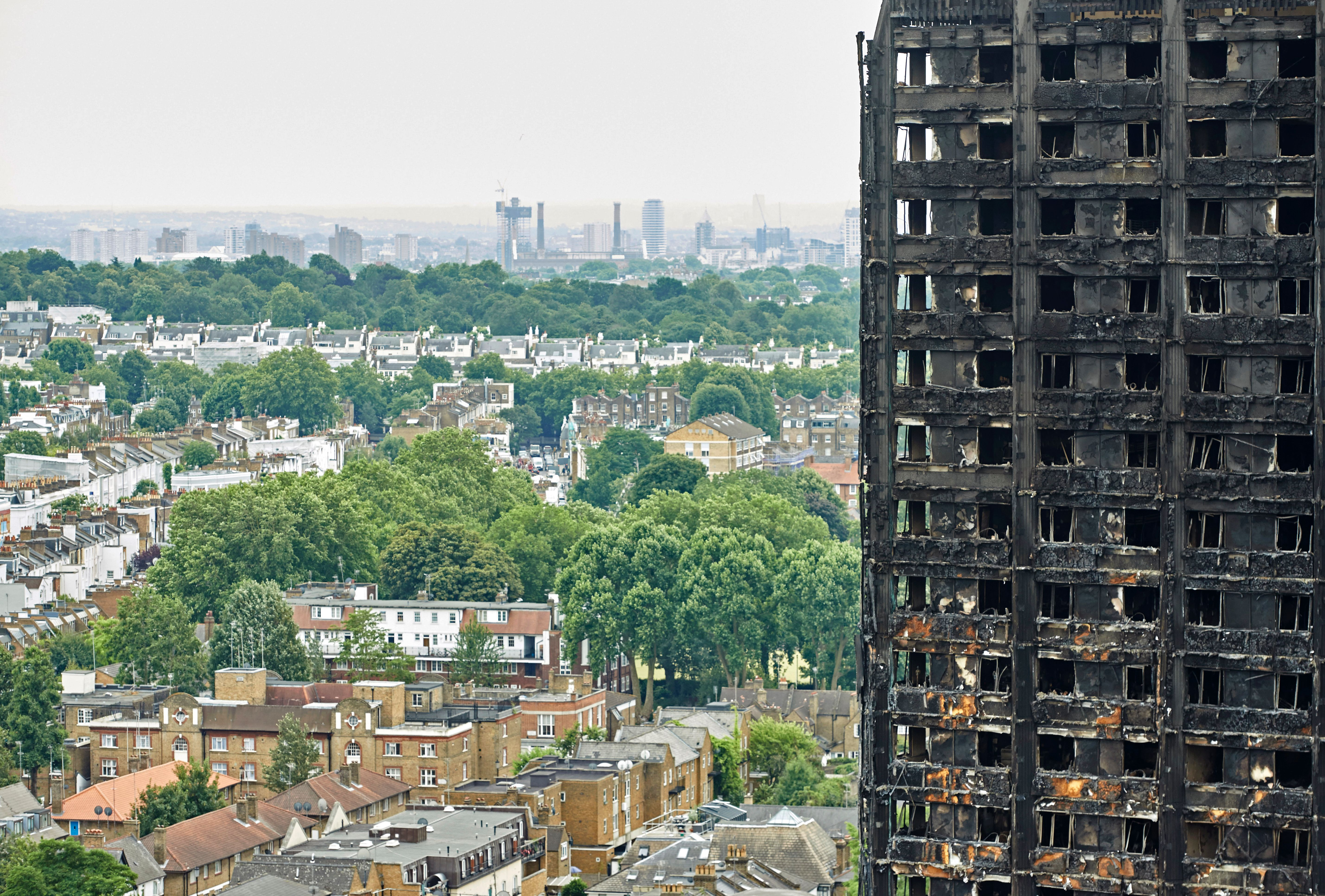 The outer walls of the burnt out shell of the Grenfell Tower block in north Kensington, west London on June 22, 2017.