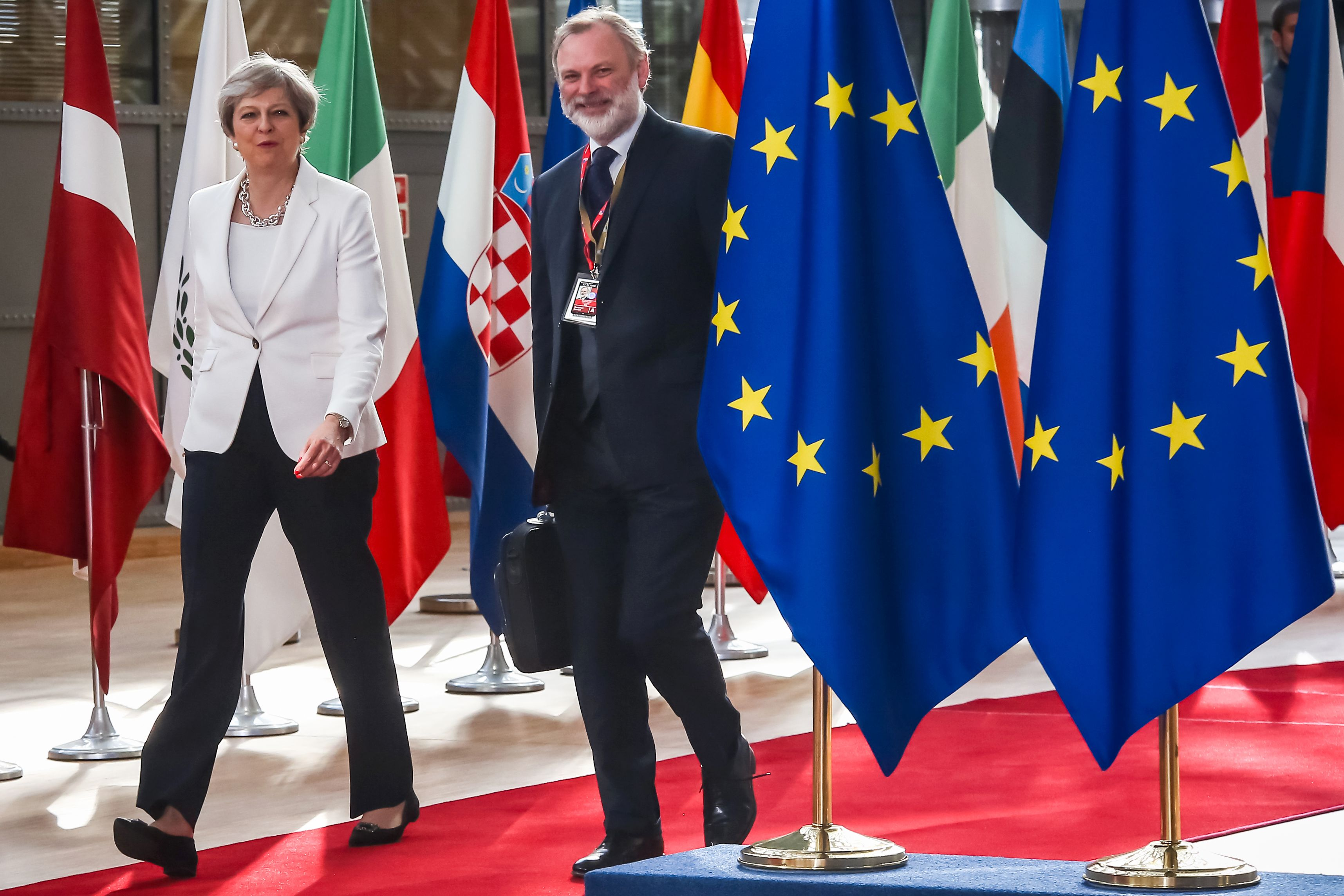 Britain's Prime Minister Theresa May arrives on the second day of a summit of European Union (EU) leaders and focusing on globalization and migration, after the first day was dominated by the future of the EU and the Brexit, on June 23, 2017 in Brussels.