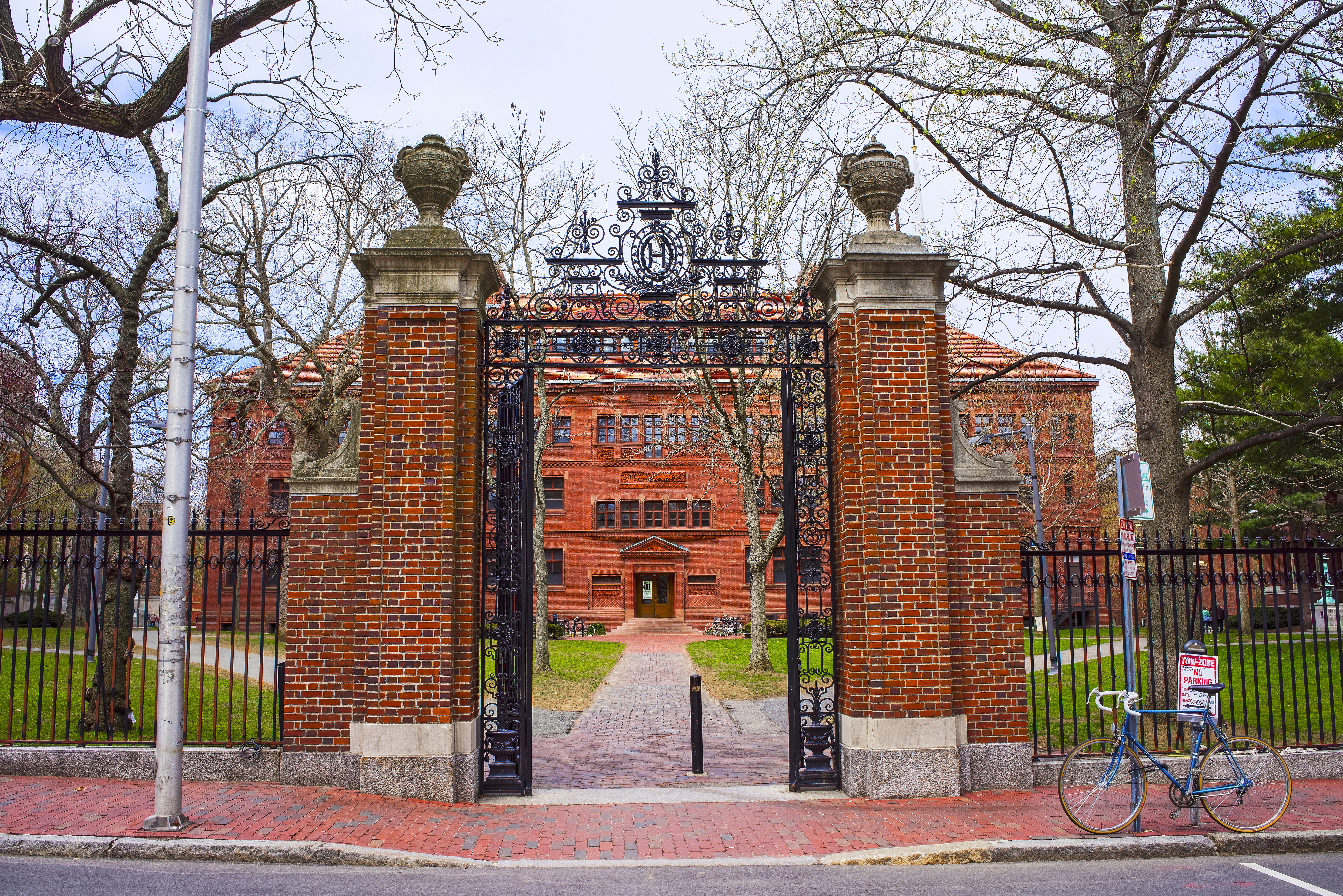 Entrance gate and Sever Hall at Harvard Yard in Cambridge