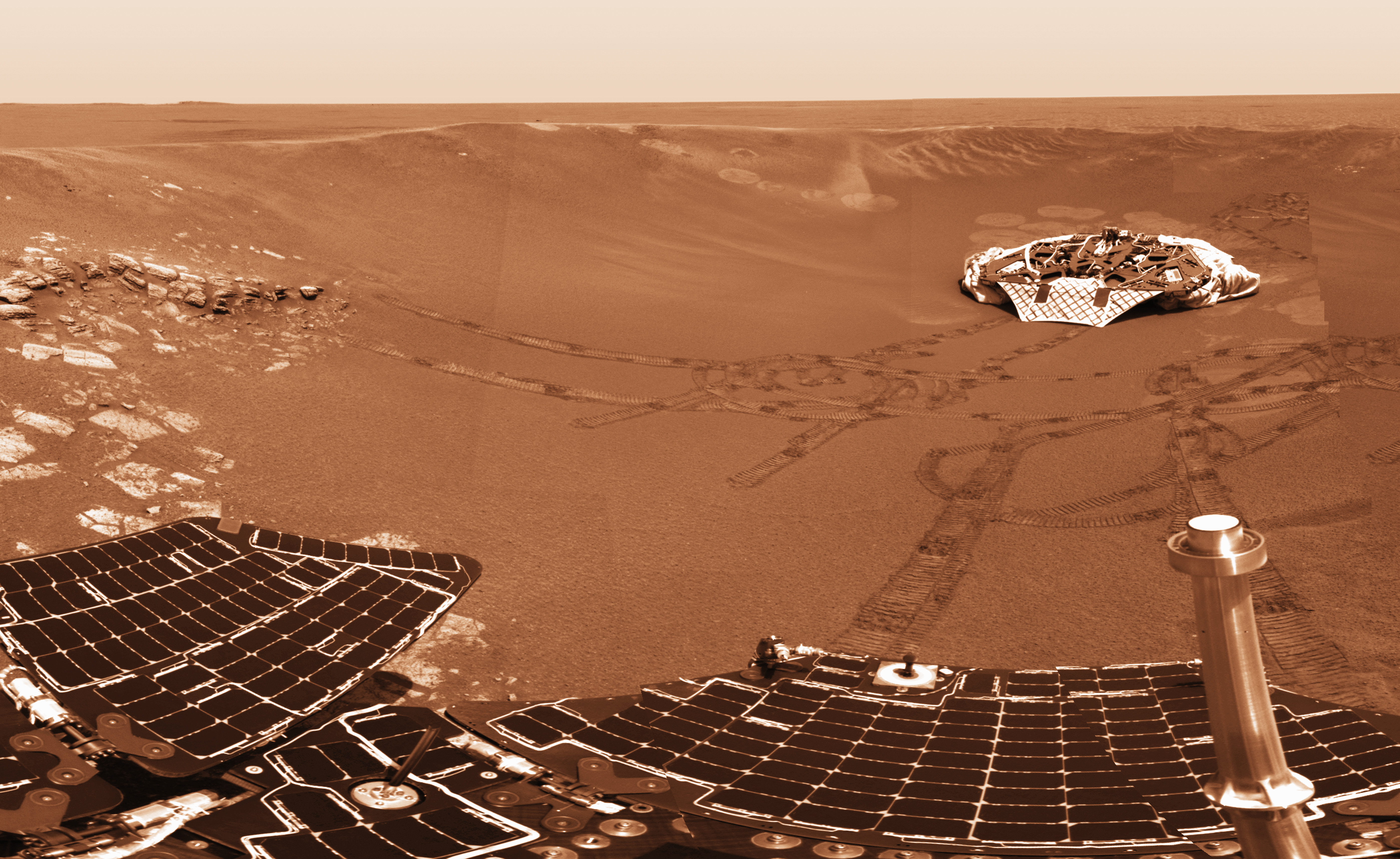Mars Exploration Rover Opportunity's Solar Panels and Landing Platform, Mars