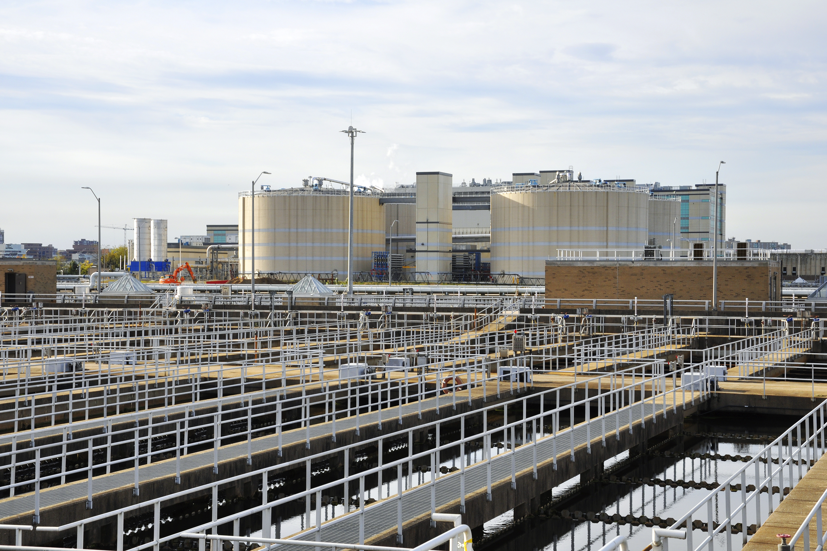 DC Water's waste-treatment facilities, with it digesters at rear.