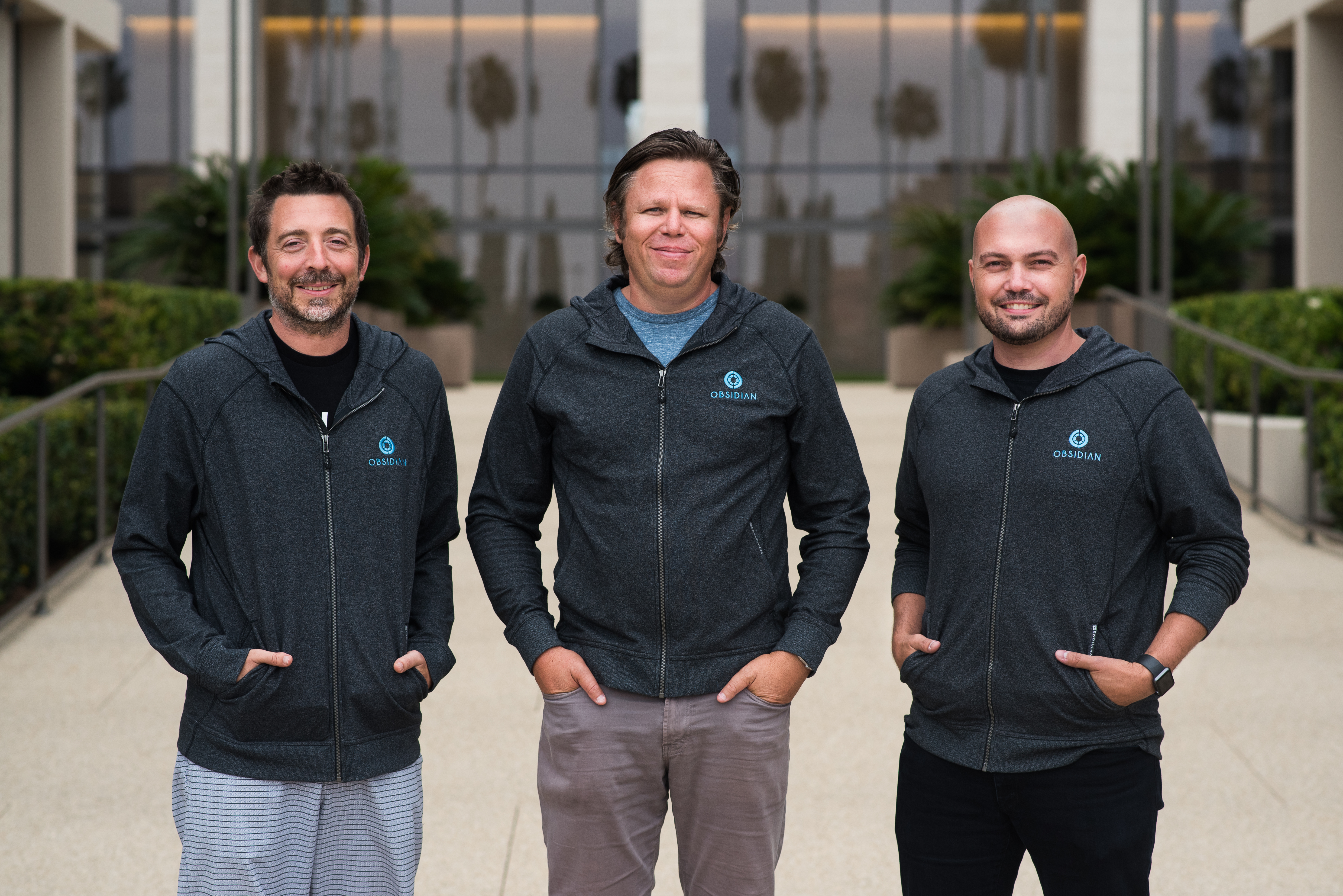 The members of Obsidian, a new security startup, include CEO Glen Chisholm (center), tech chief Ben Johnson (right), and chief scientist Matt Wolff (left).