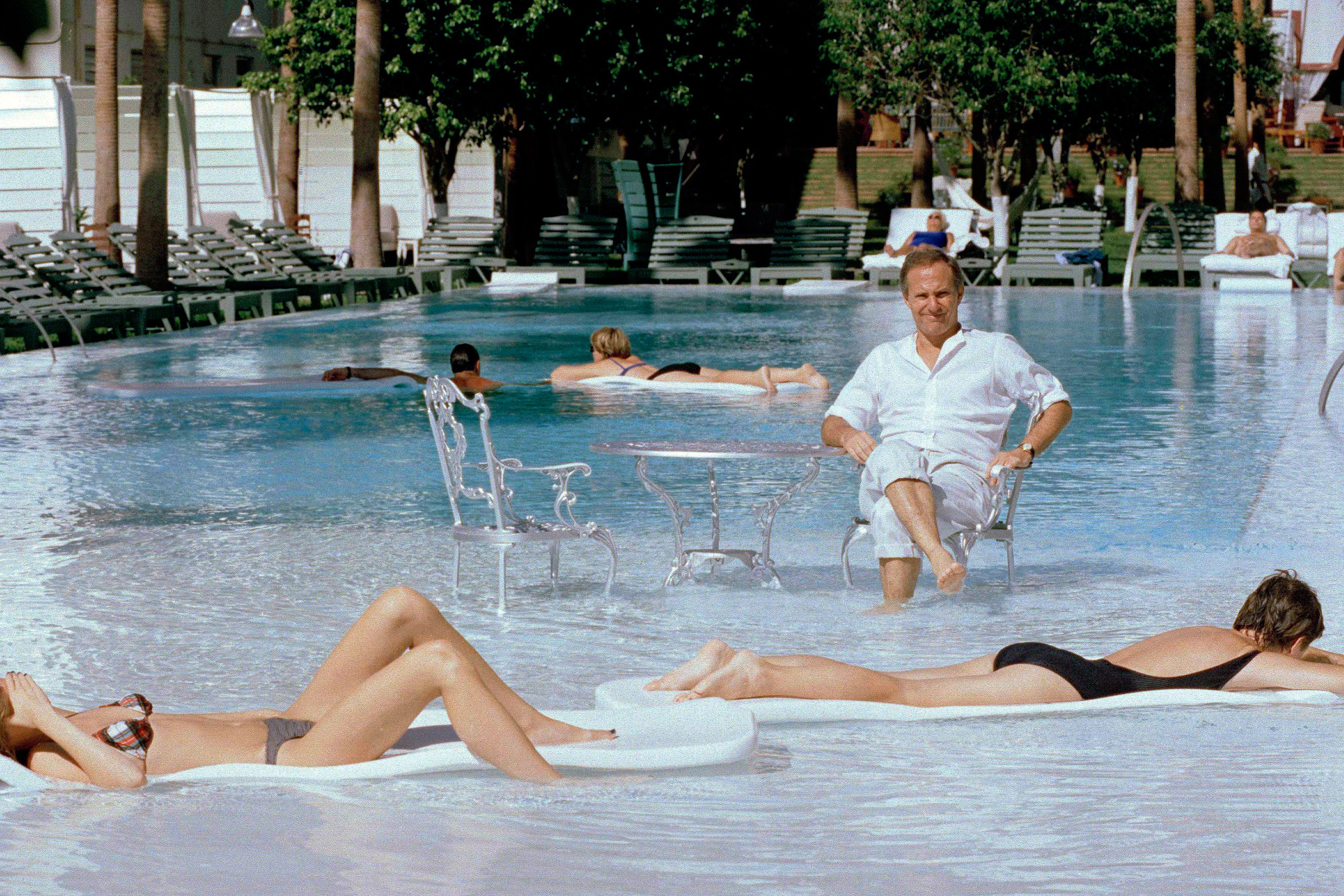 Ian Schrager and guests at Delano South Beach, 1995.