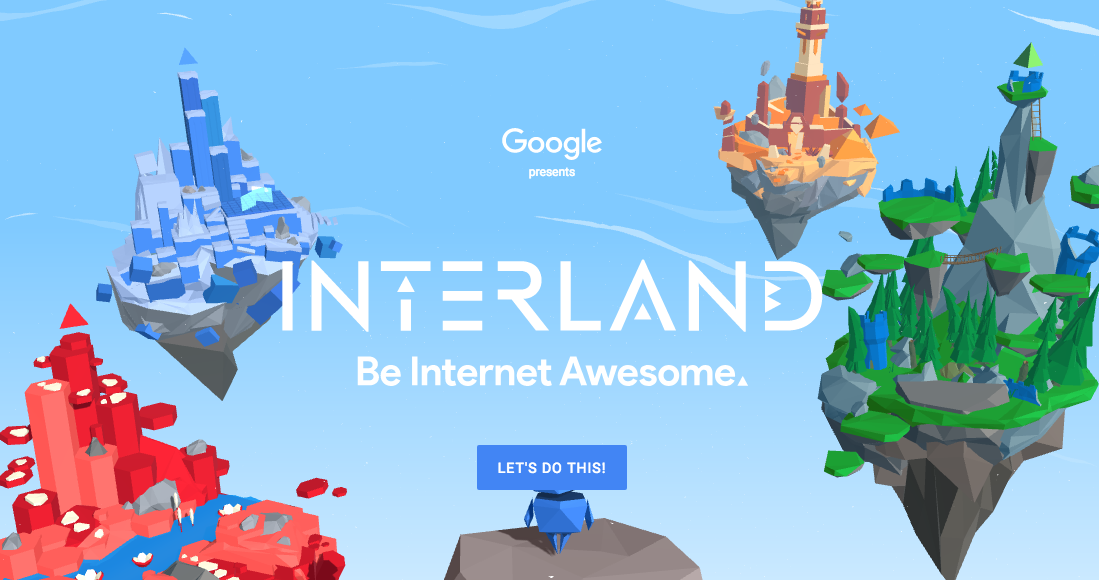 """The home screen for """"Interland,"""" a game designed by Google that teaches children about online safety and security."""